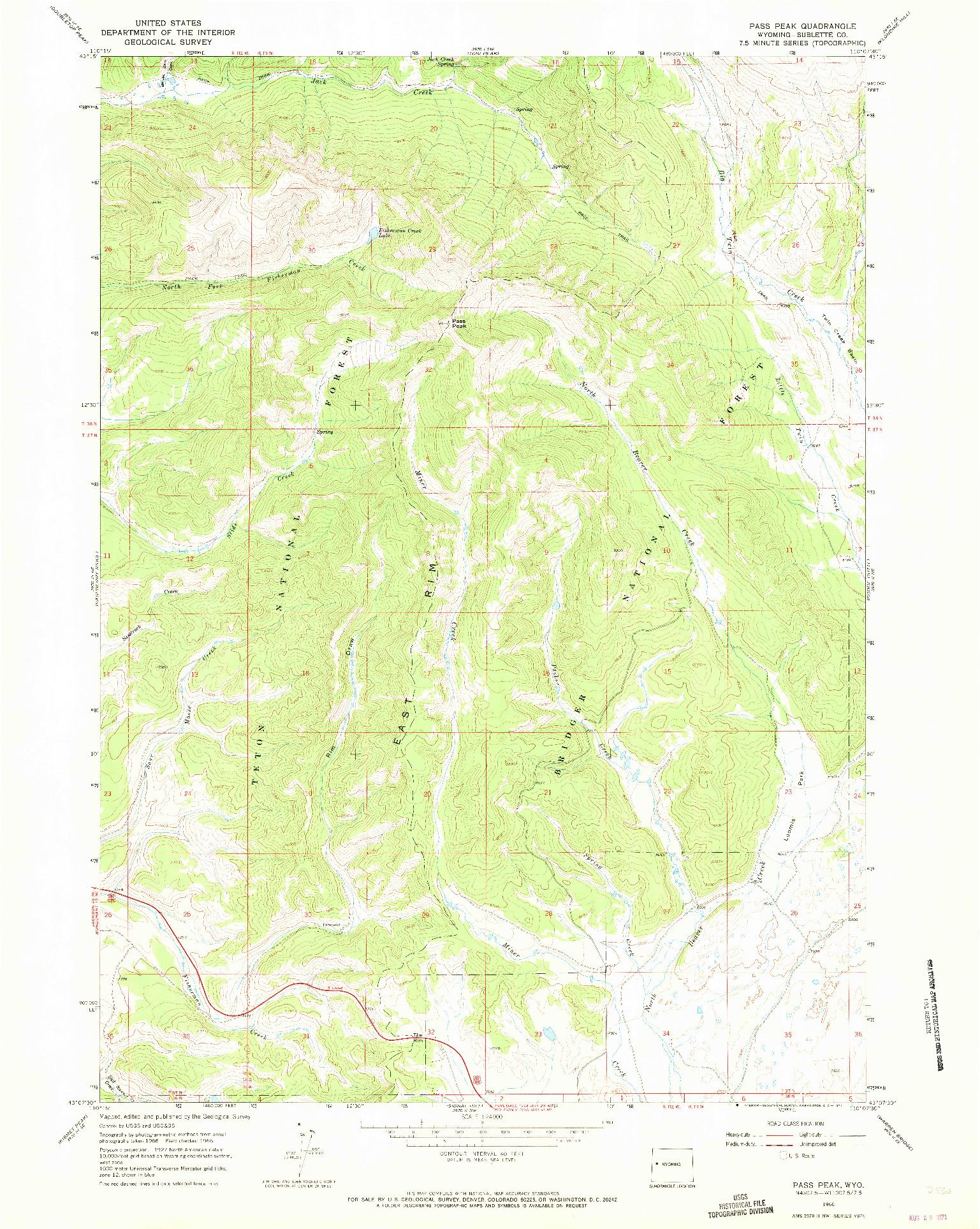USGS 1:24000-SCALE QUADRANGLE FOR PASS PEAK, WY 1966