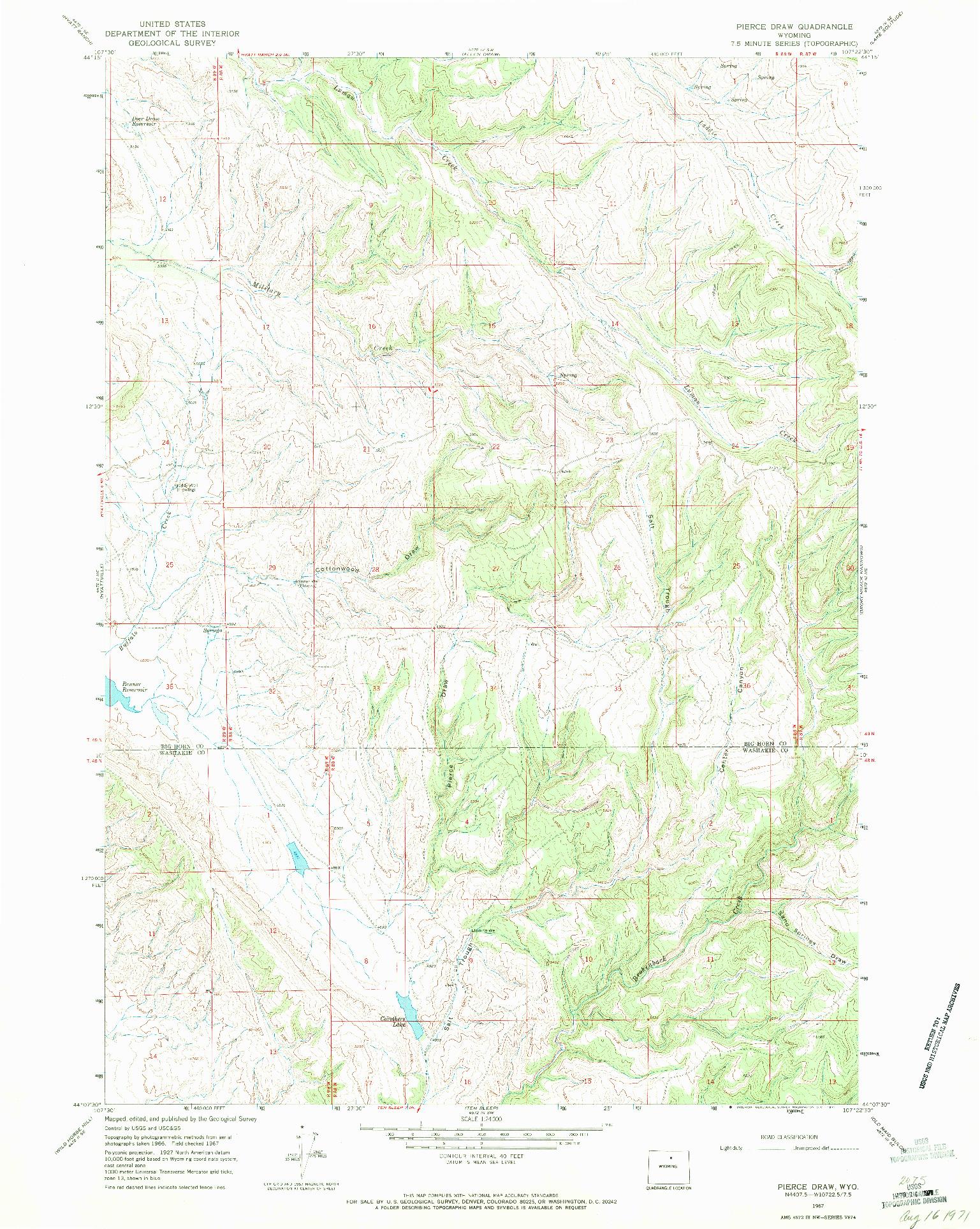 USGS 1:24000-SCALE QUADRANGLE FOR PIERCE DRAW, WY 1967