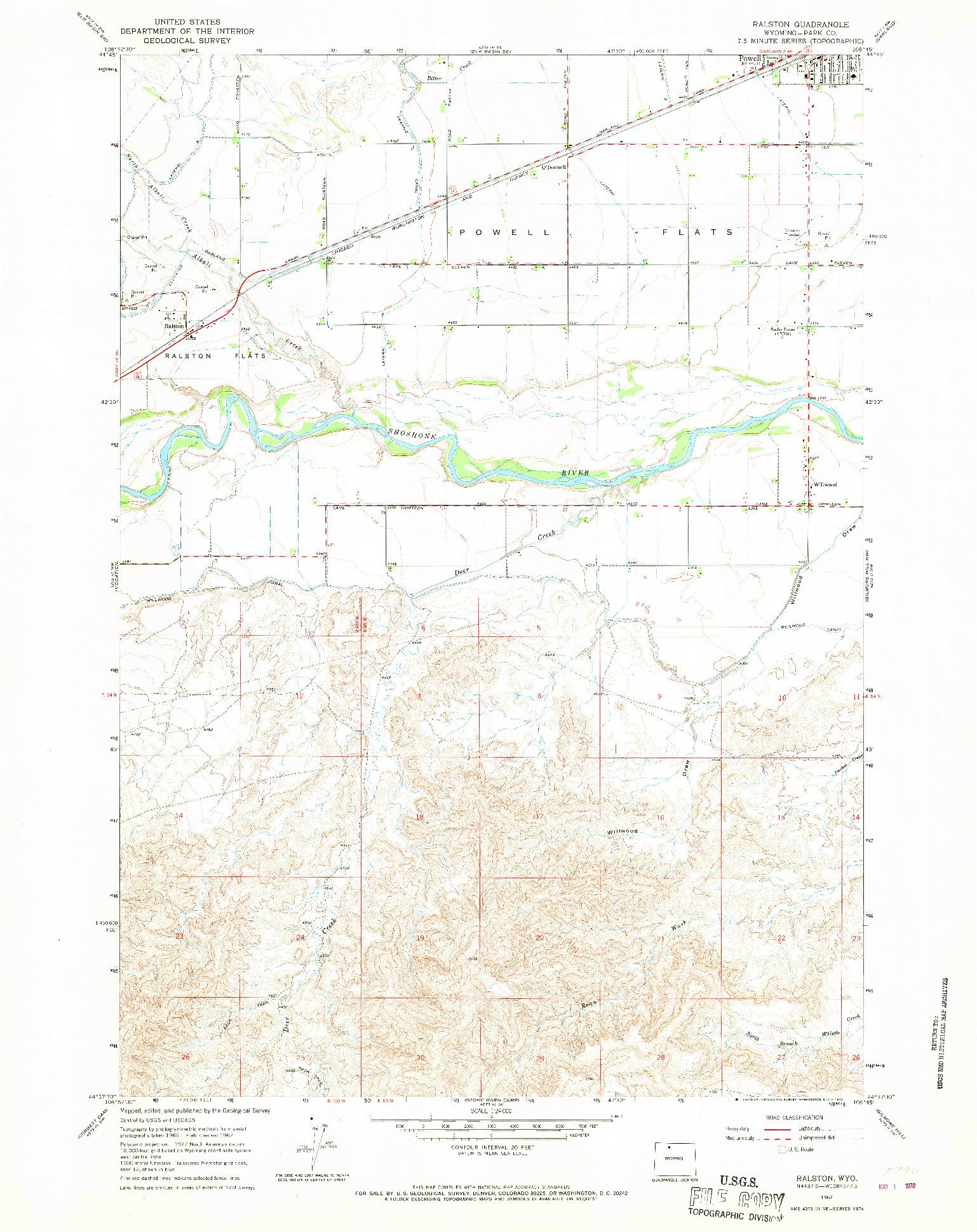 USGS 1:24000-SCALE QUADRANGLE FOR RALSTON, WY 1967