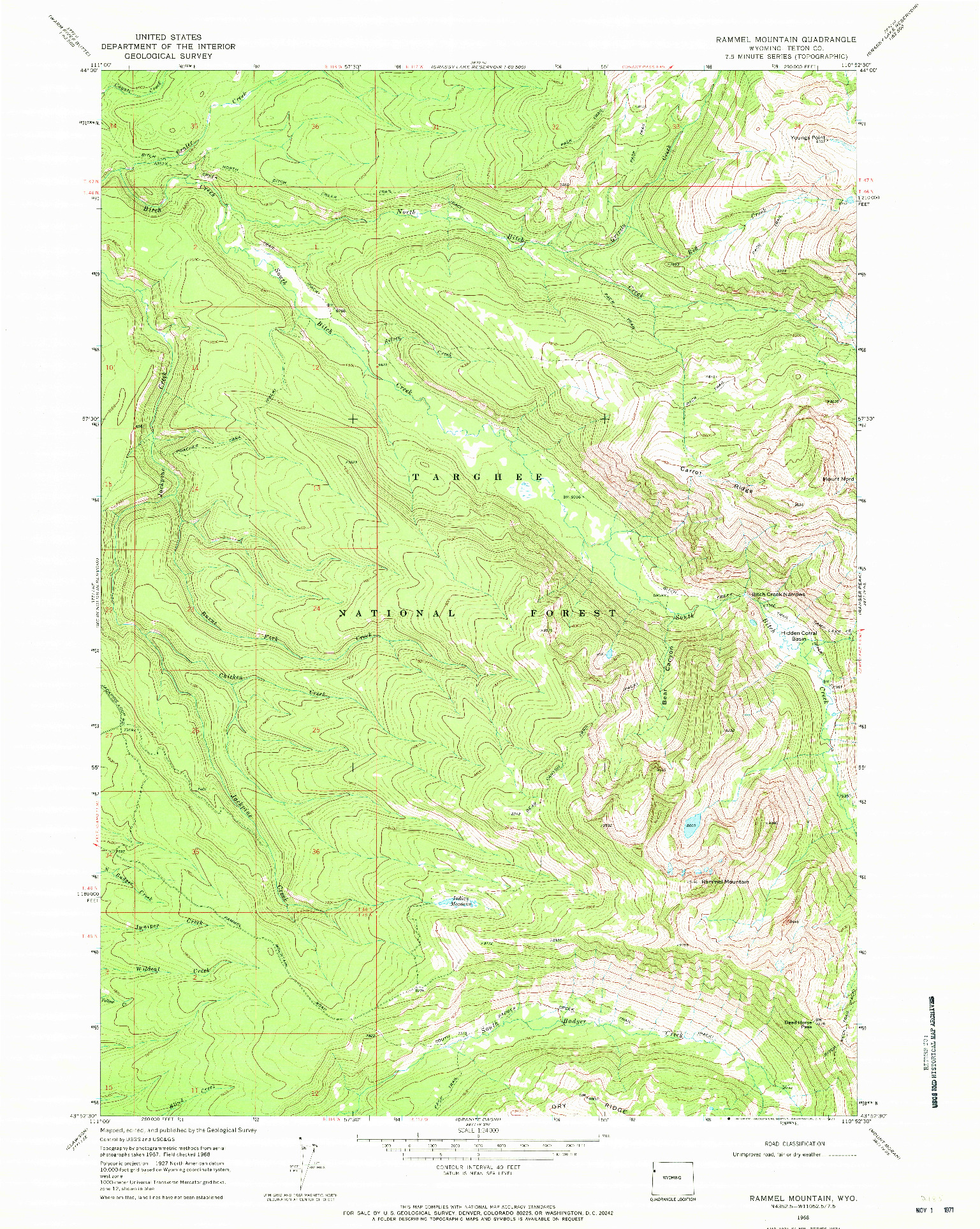 USGS 1:24000-SCALE QUADRANGLE FOR RAMMEL MOUNTAIN, WY 1968