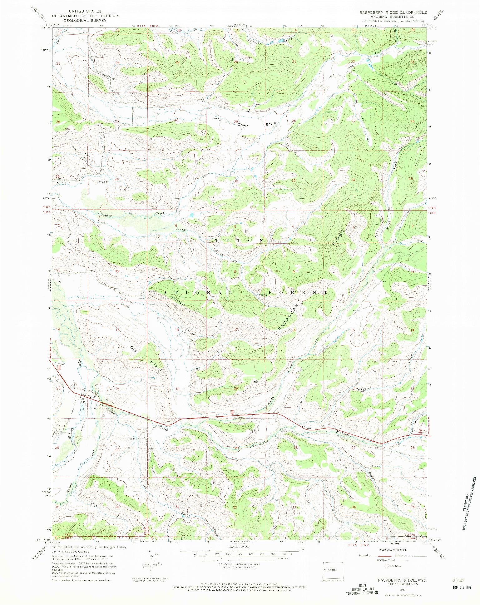 USGS 1:24000-SCALE QUADRANGLE FOR RASPBERRY RIDGE, WY 1967