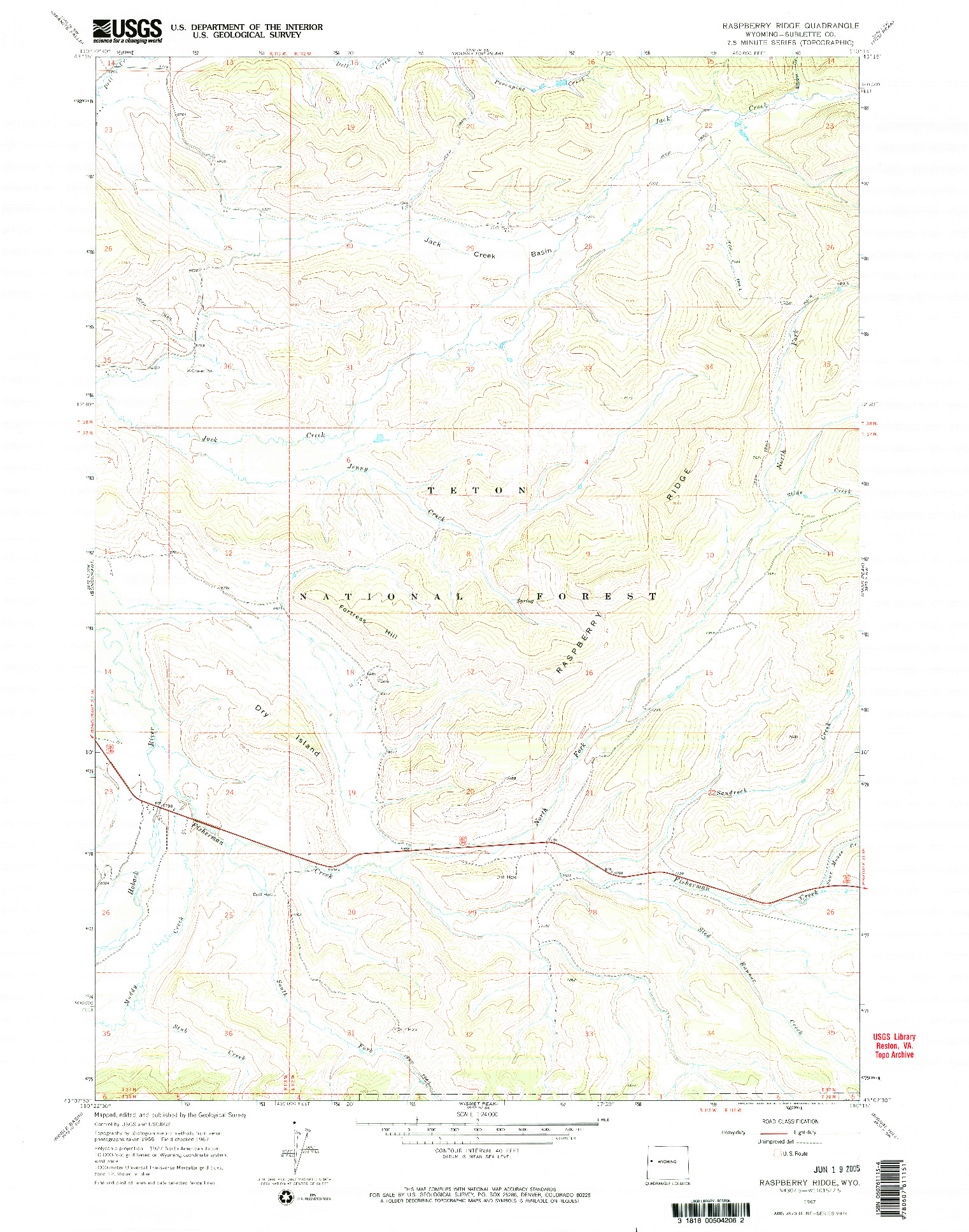 USGS 1:24000-SCALE QUADRANGLE FOR RASPBERRY RIDGE, WY 1967