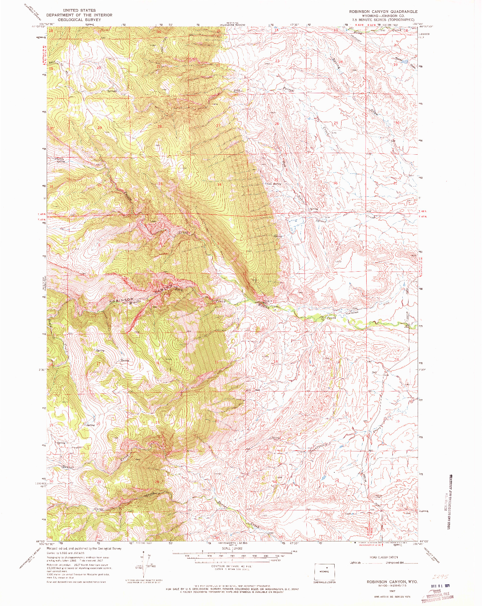 USGS 1:24000-SCALE QUADRANGLE FOR ROBINSON CANYON, WY 1967