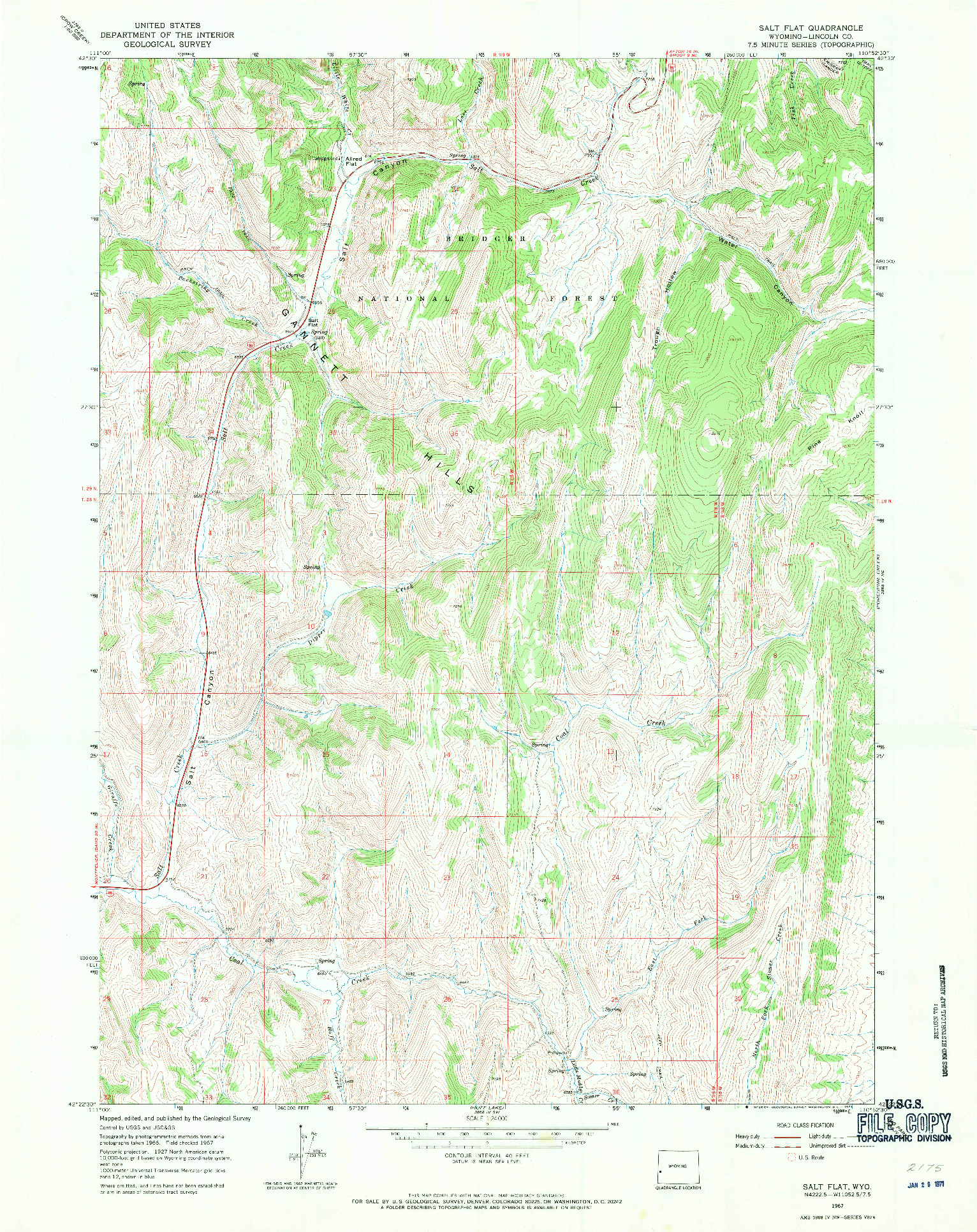 USGS 1:24000-SCALE QUADRANGLE FOR SALT FLAT, WY 1967