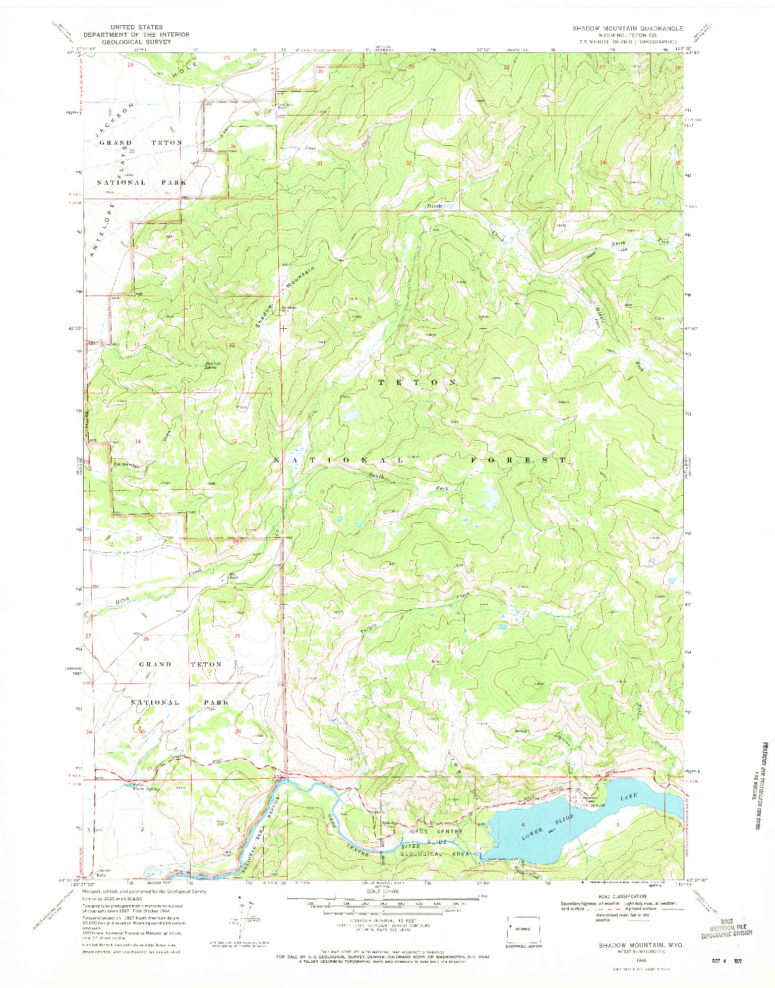 USGS 1:24000-SCALE QUADRANGLE FOR SHADOW MOUNTAIN, WY 1968