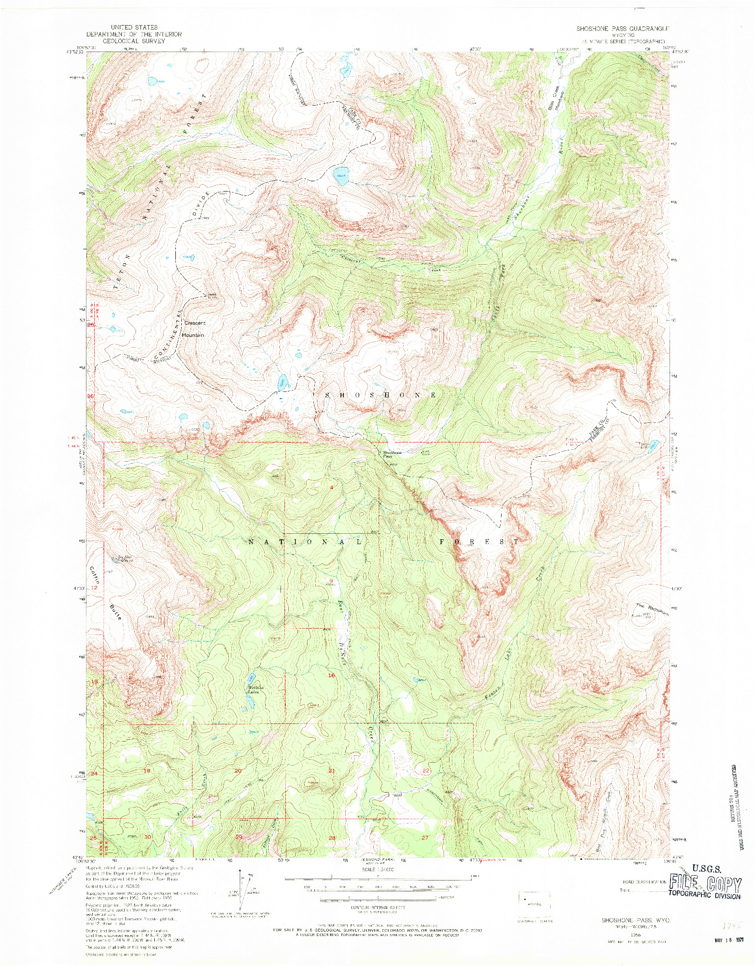 USGS 1:24000-SCALE QUADRANGLE FOR SHOSHONE PASS, WY 1956