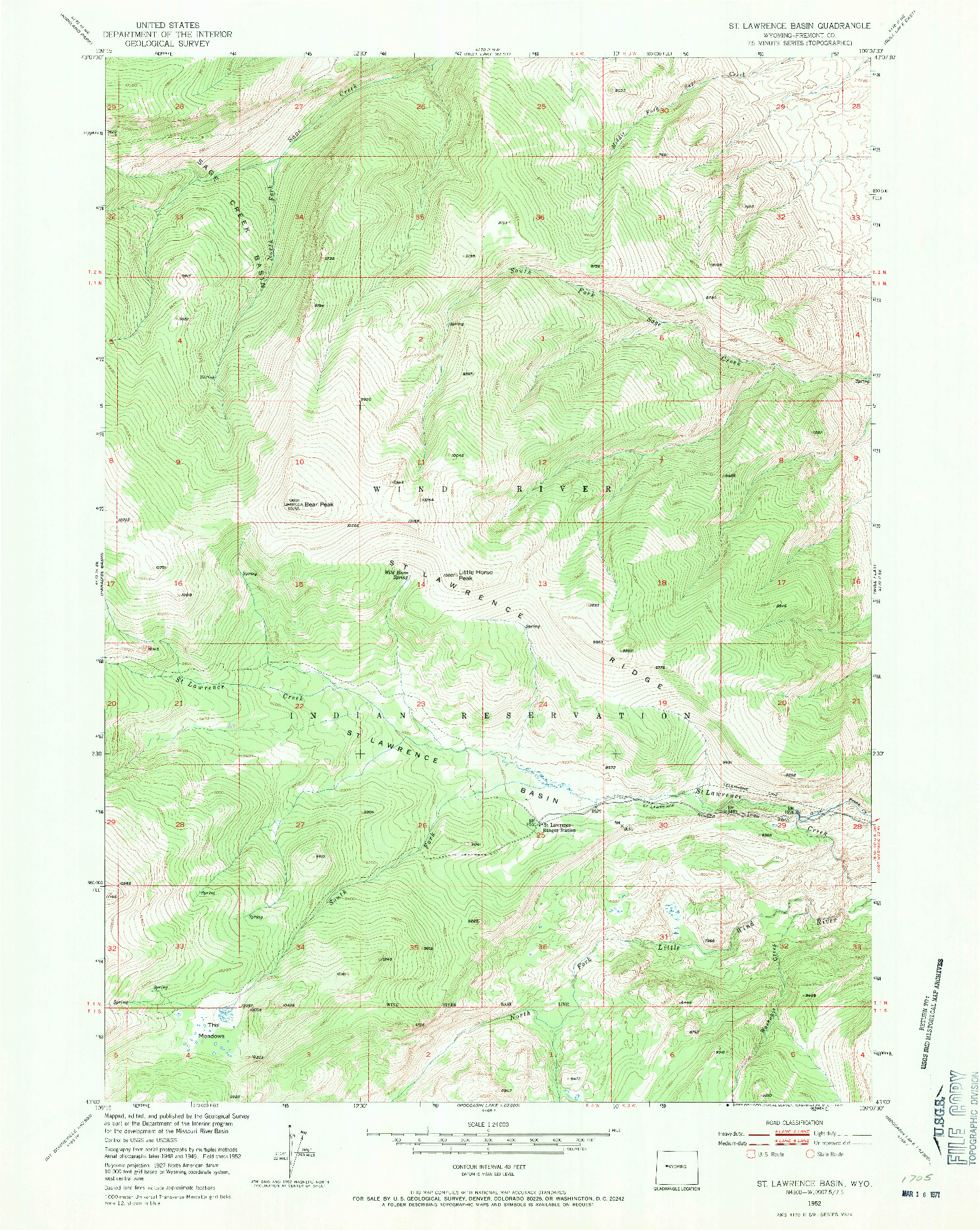 USGS 1:24000-SCALE QUADRANGLE FOR ST. LAWRENCE BASIN, WY 1952