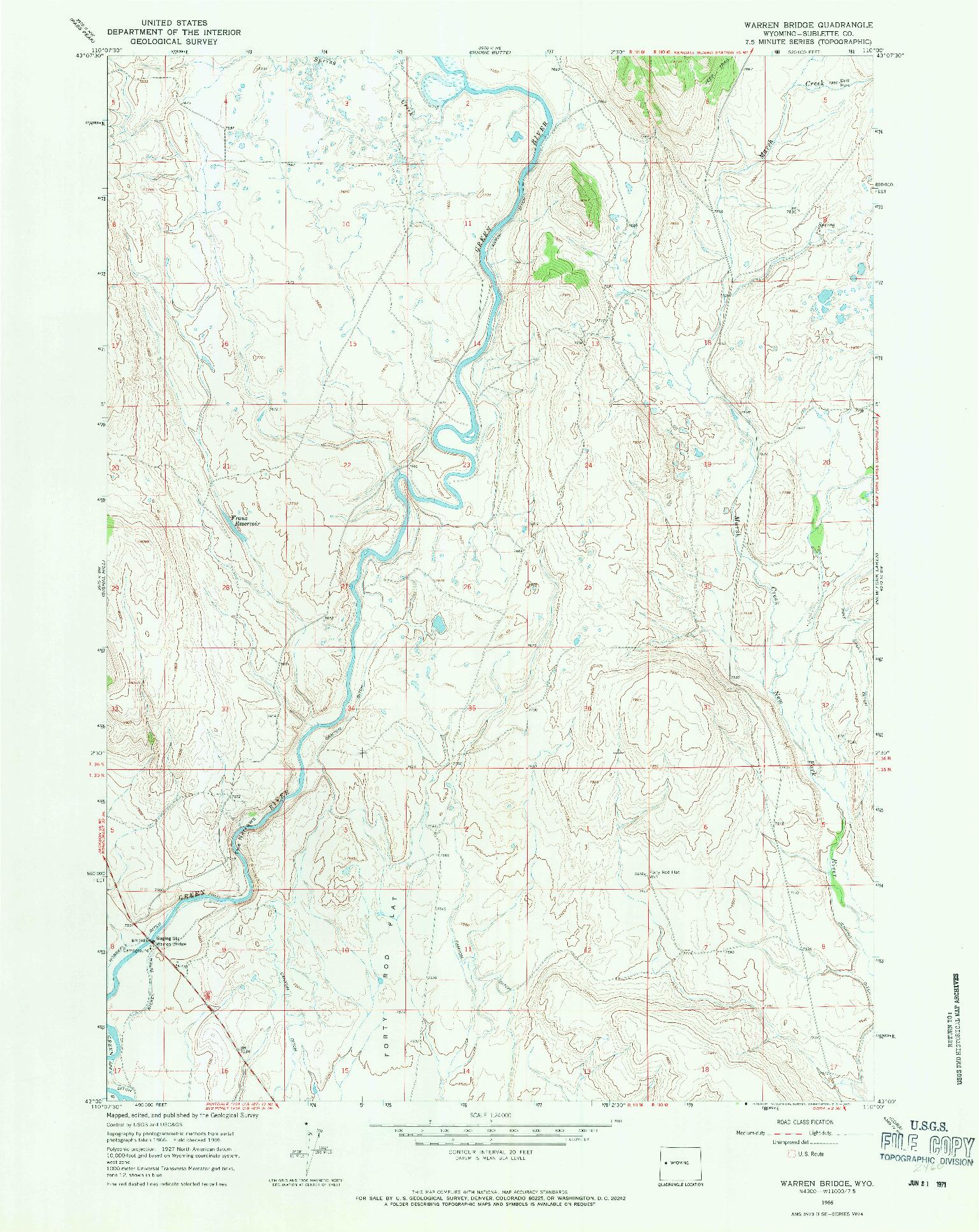 USGS 1:24000-SCALE QUADRANGLE FOR WARREN BRIDGE, WY 1966