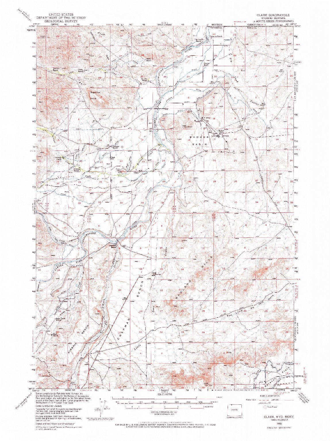 USGS 1:62500-SCALE QUADRANGLE FOR CLARK, WY 1950