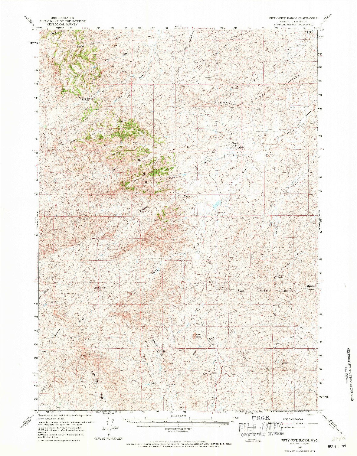 USGS 1:62500-SCALE QUADRANGLE FOR FIFTY-FIVE RANCH, WY 1959