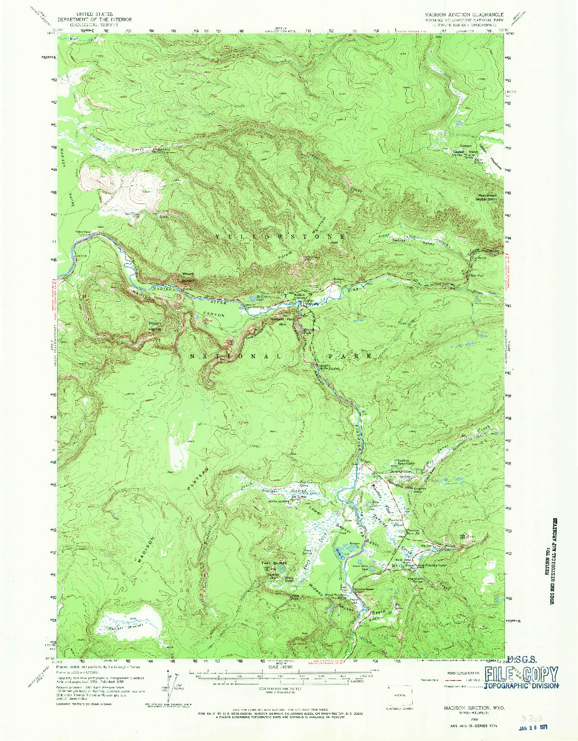 USGS 1:62500-SCALE QUADRANGLE FOR MADISON JUNCTION, WY 1958