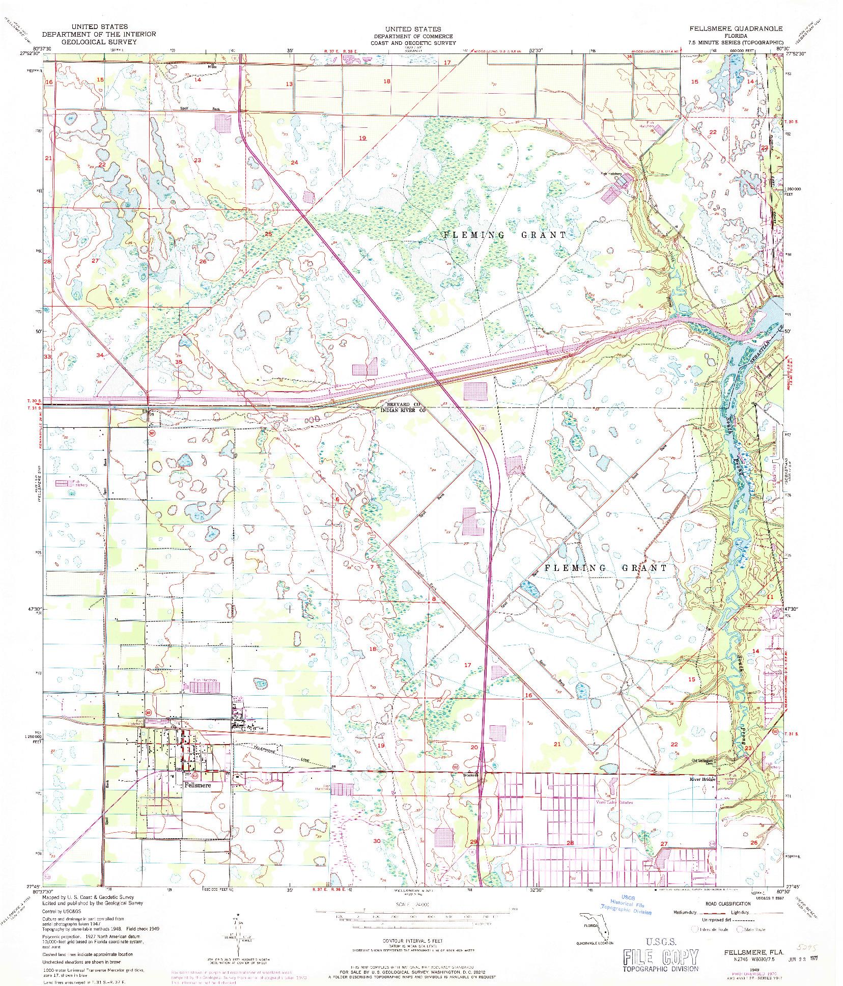 USGS 1:24000-SCALE QUADRANGLE FOR FELLSMERE, FL 1949