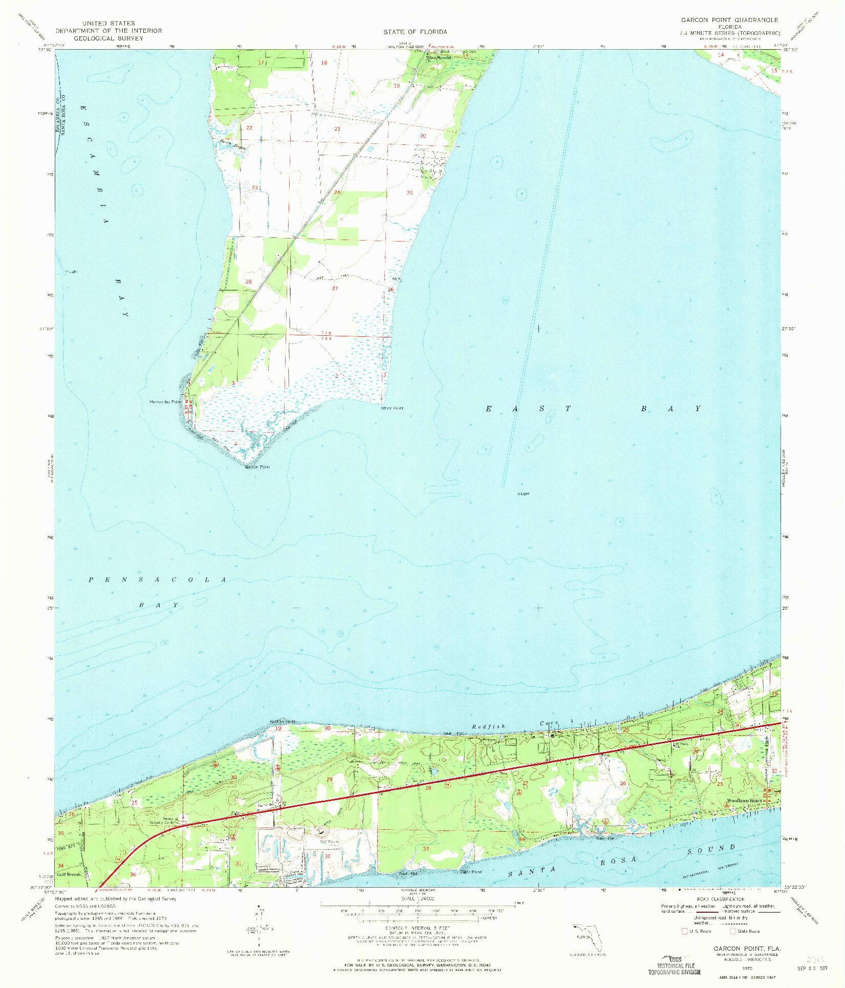 USGS 1:24000-SCALE QUADRANGLE FOR GARCON POINT, FL 1970