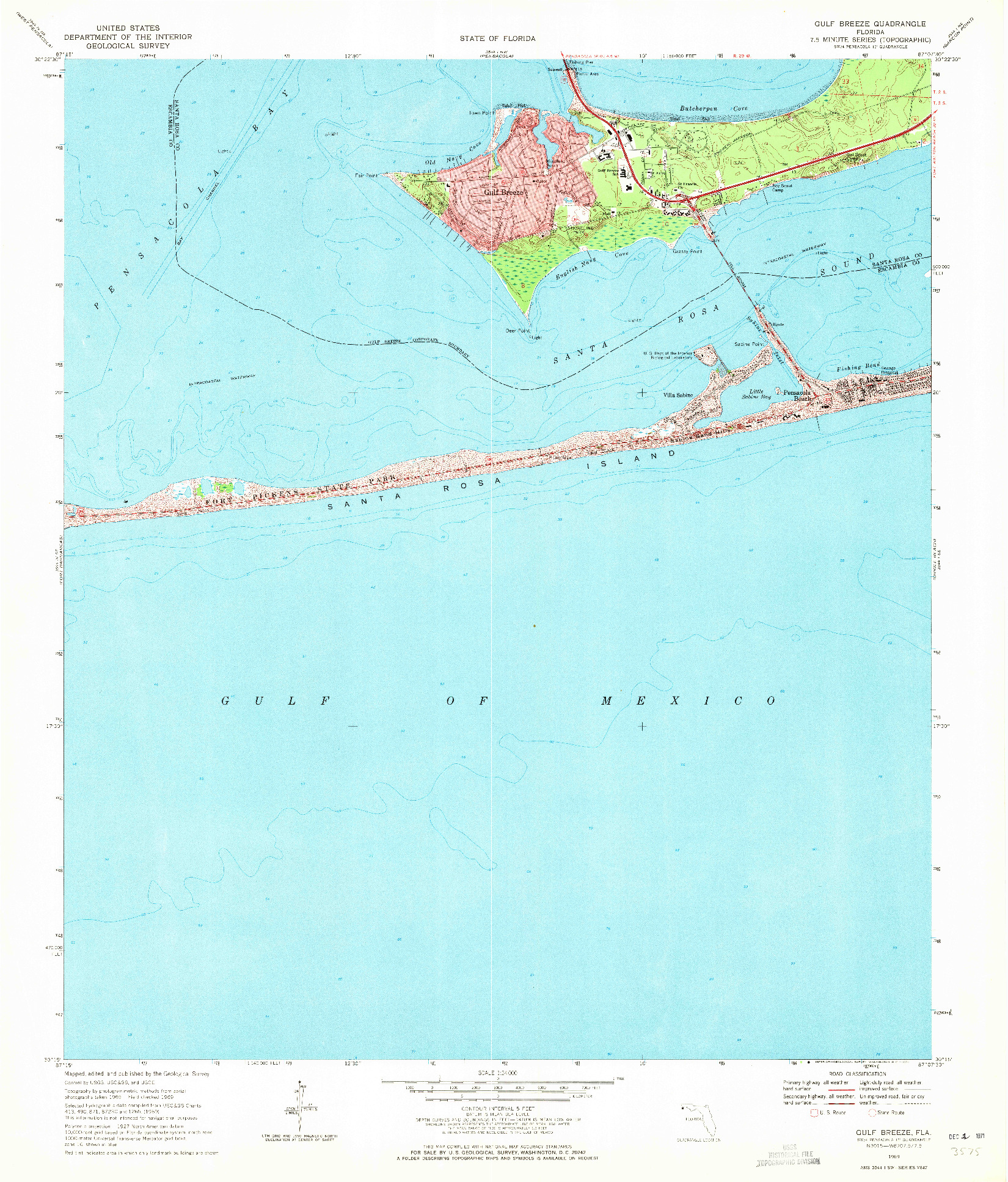 USGS 1:24000-SCALE QUADRANGLE FOR GULF BREEZE, FL 1969