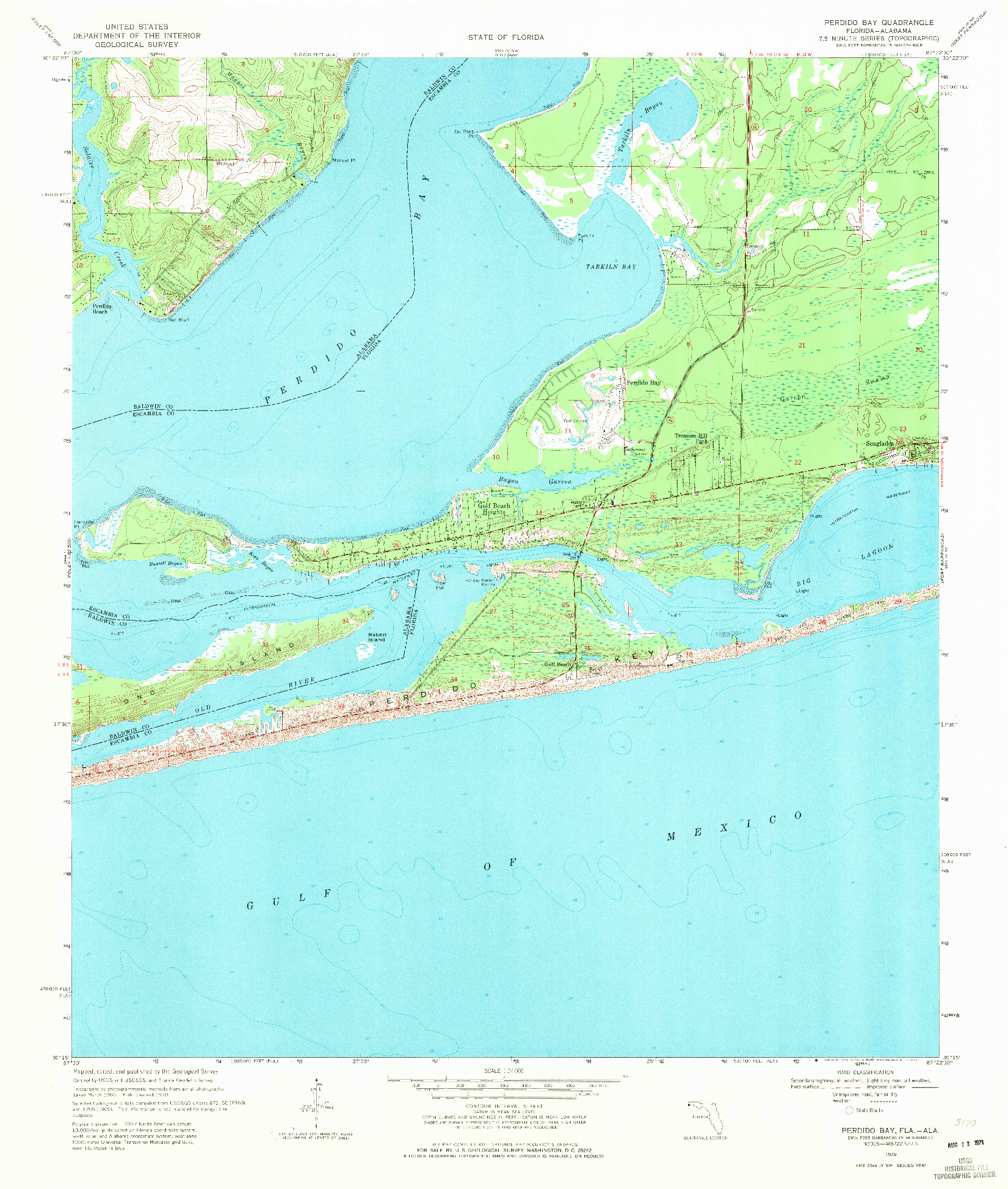 USGS 1:24000-SCALE QUADRANGLE FOR PERDIDO BAY, FL 1970