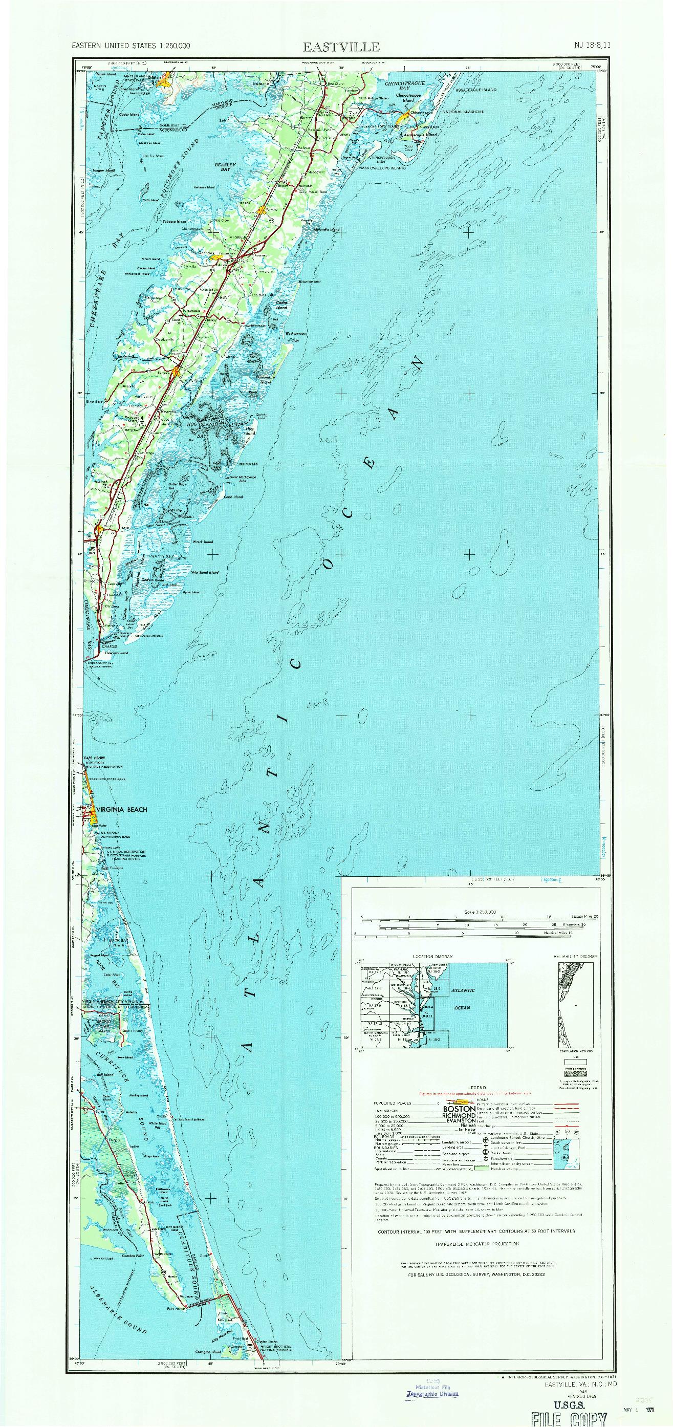 USGS 1:250000-SCALE QUADRANGLE FOR EASTVILLE, VA 1946