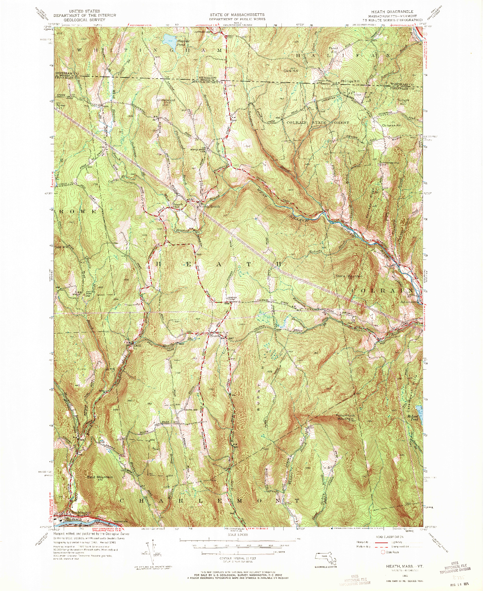 USGS 1:24000-SCALE QUADRANGLE FOR HEATH, MA 1961
