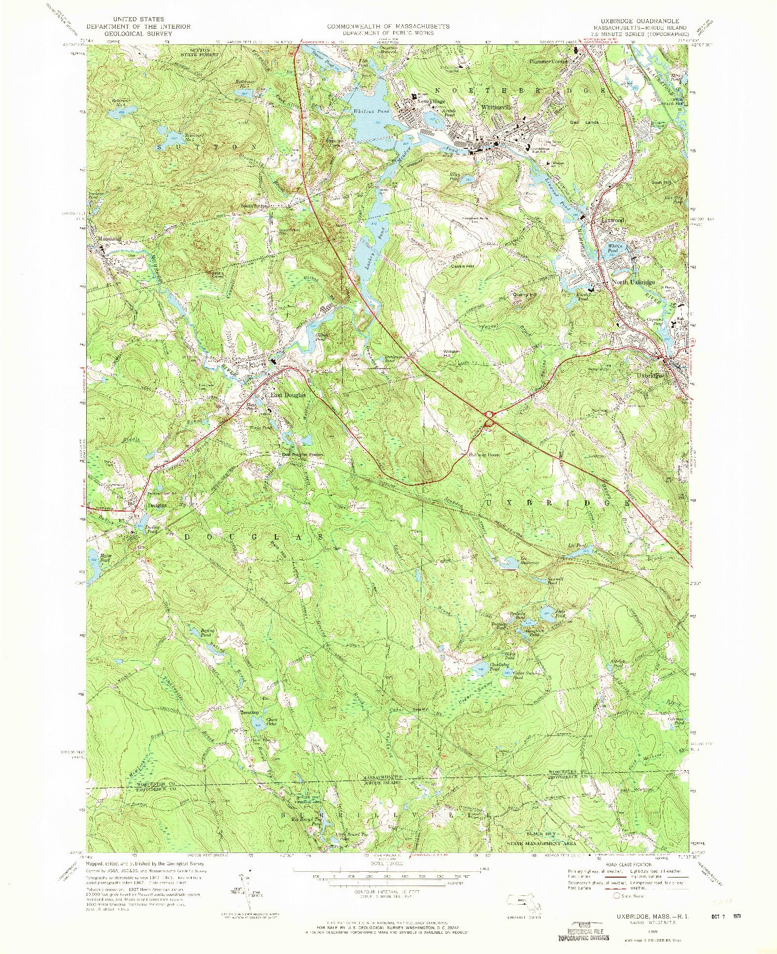 USGS 1:24000-SCALE QUADRANGLE FOR UXBRIDGE, MA 1969