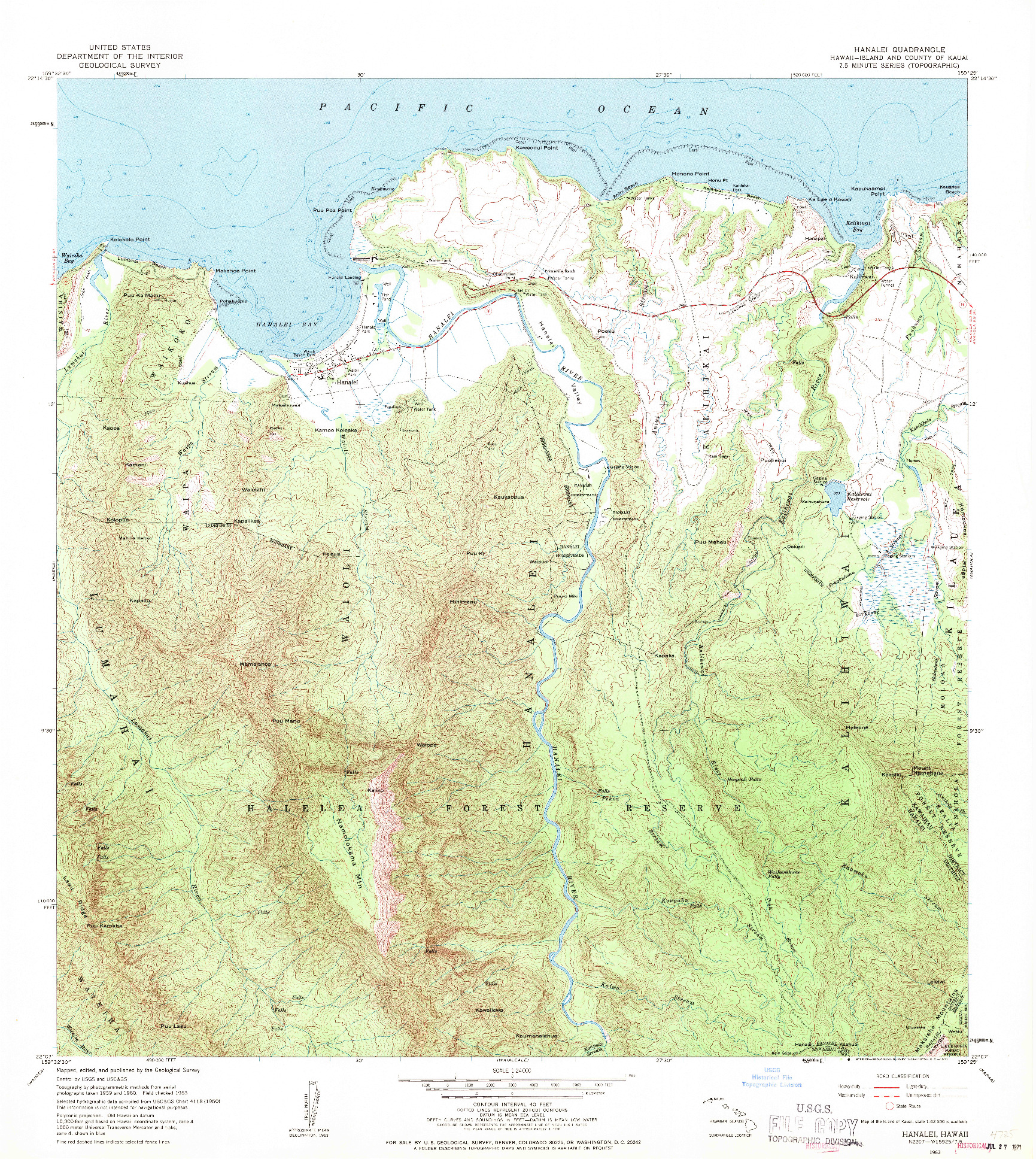 USGS 1:24000-SCALE QUADRANGLE FOR HANALEI, HI 1963