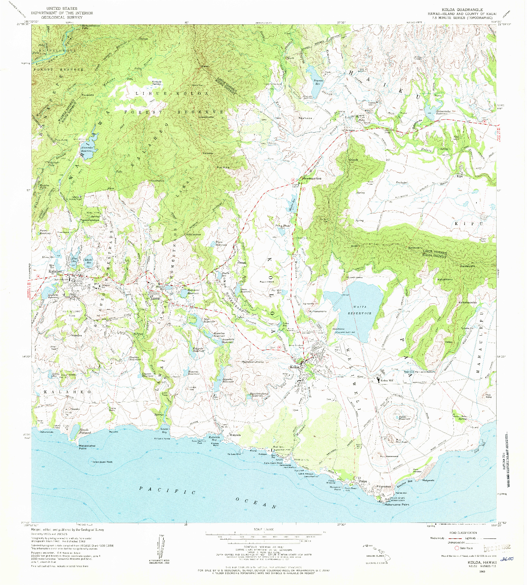 USGS 1:24000-SCALE QUADRANGLE FOR KOLOA, HI 1963