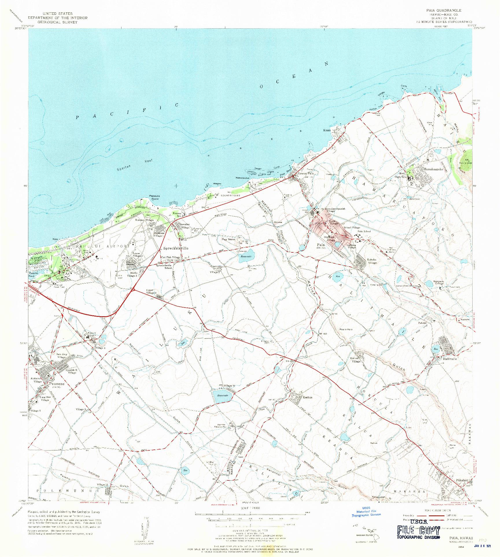 USGS 1:24000-SCALE QUADRANGLE FOR PAIA, HI 1954