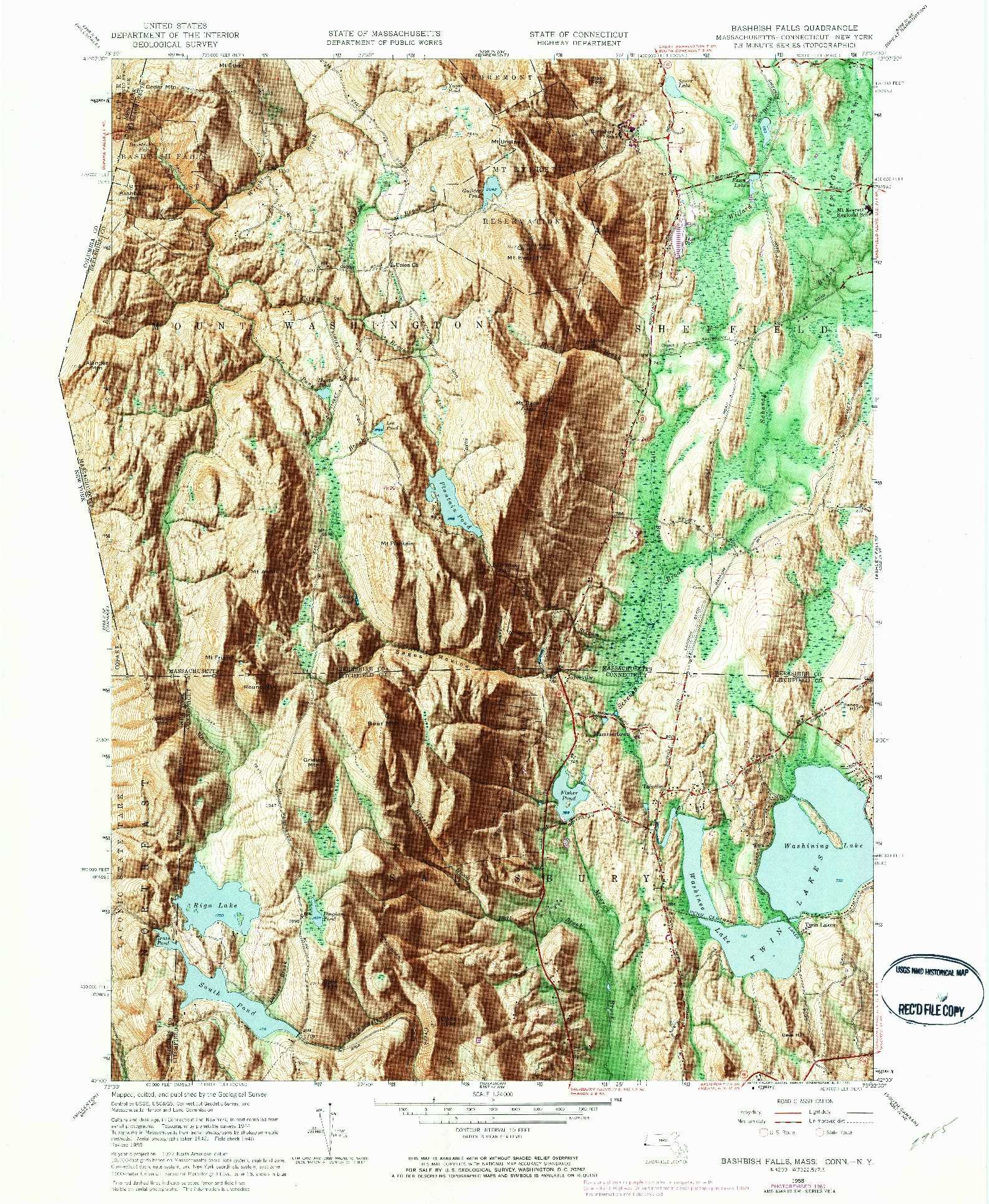 USGS 1:24000-SCALE QUADRANGLE FOR BASHBISH FALLS, MA 1958