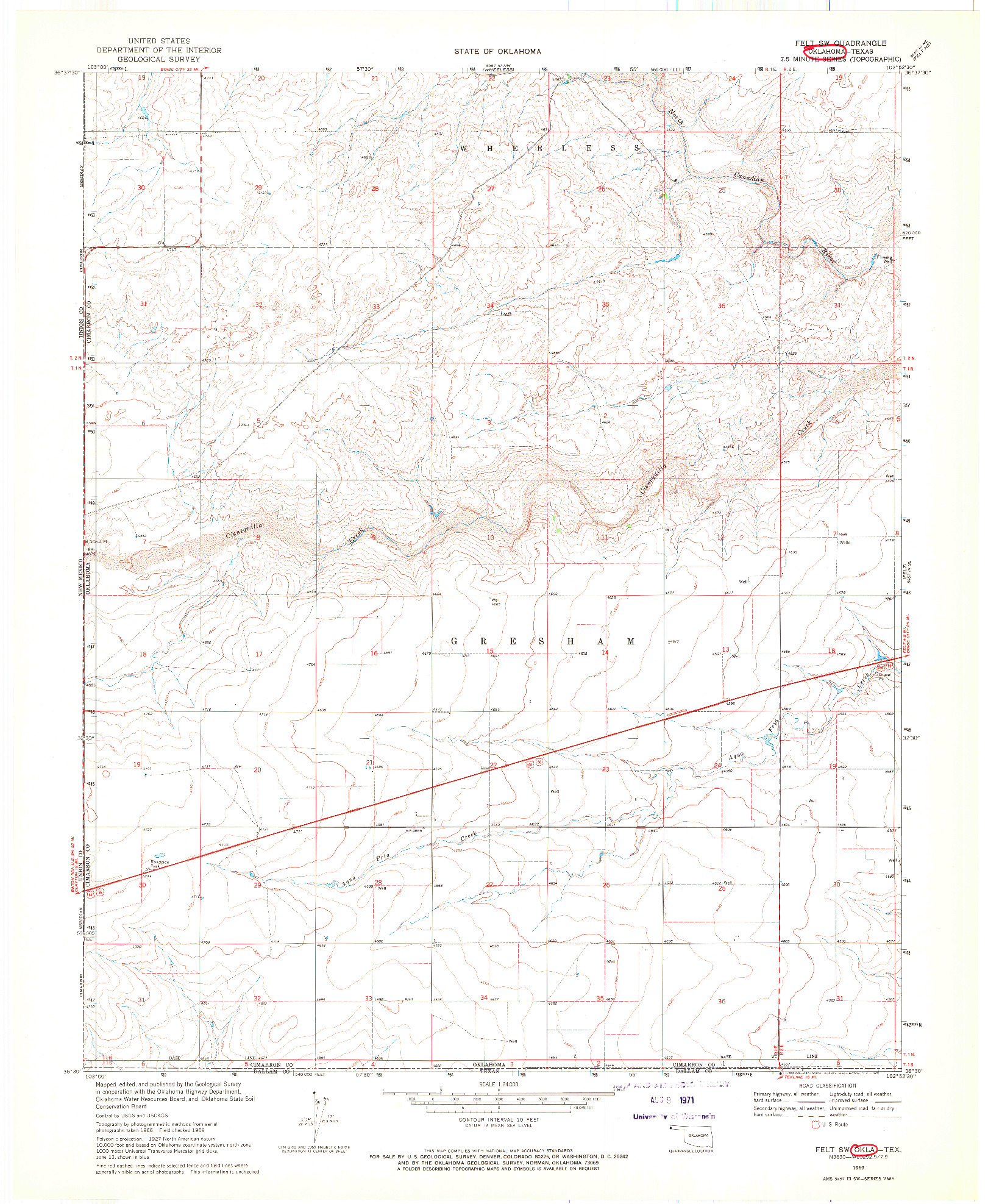 USGS 1:24000-SCALE QUADRANGLE FOR FELT SW, OK 1969