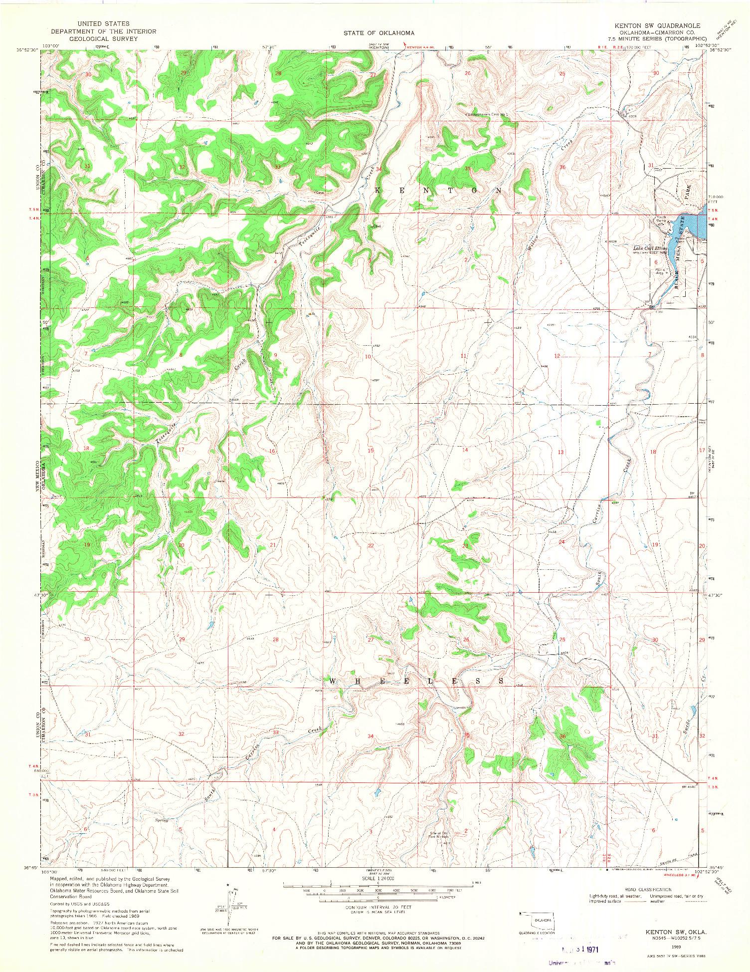 USGS 1:24000-SCALE QUADRANGLE FOR KENTON SW, OK 1969