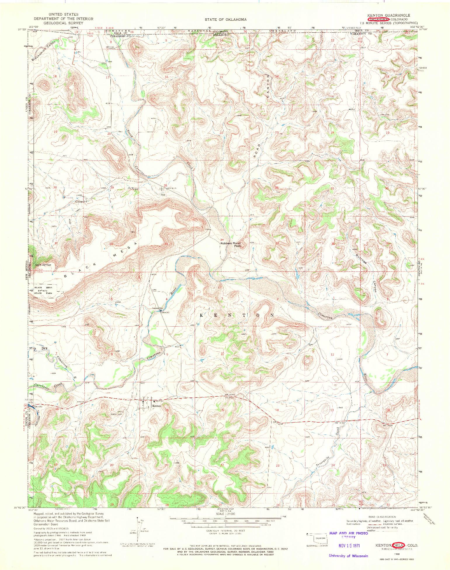 USGS 1:24000-SCALE QUADRANGLE FOR KENTON, OK 1968