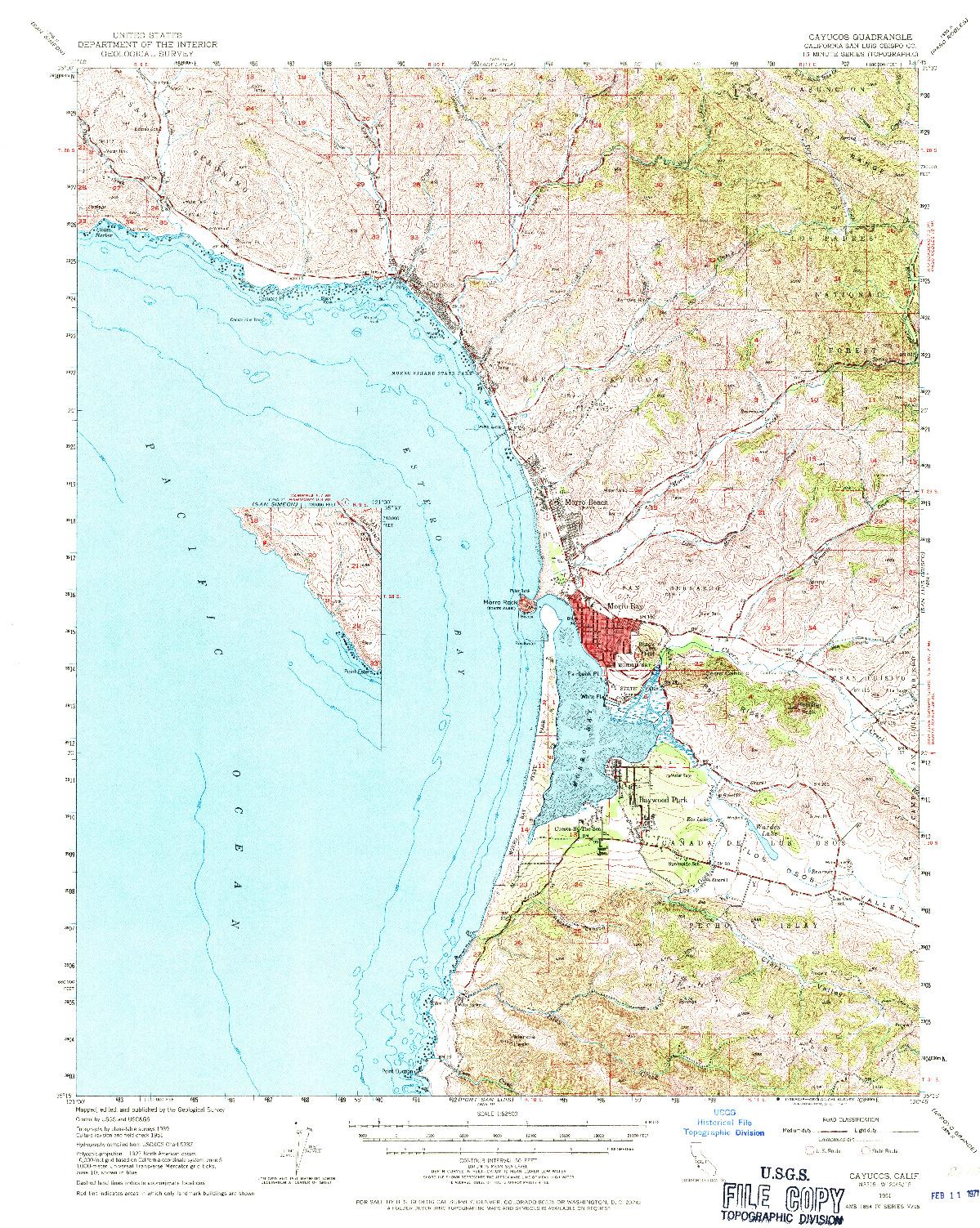 USGS 1:62500-SCALE QUADRANGLE FOR CAYUCOS, CA 1951