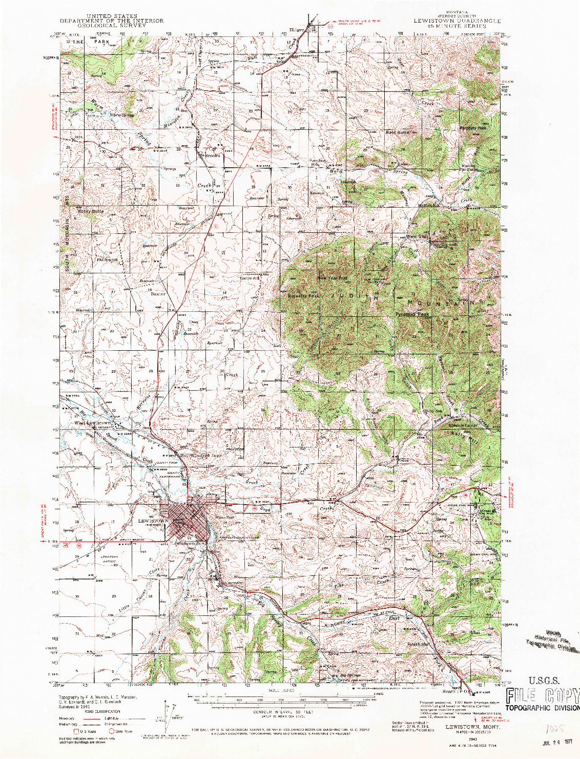 USGS 1:62500-SCALE QUADRANGLE FOR LEWISTOWN, MT 1941