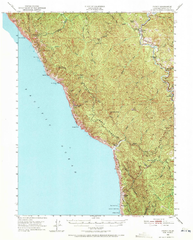 USGS 1:62500-SCALE QUADRANGLE FOR PIERCY, CA 1950
