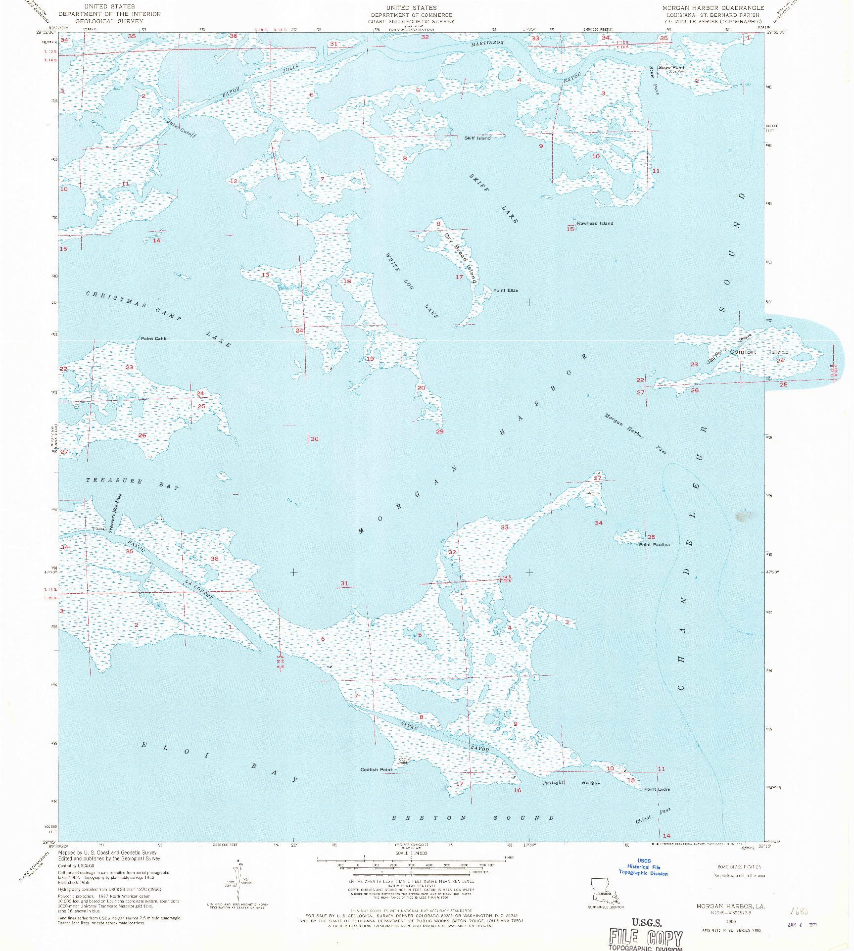 USGS 1:24000-SCALE QUADRANGLE FOR MORGAN HARBOR, LA 1955