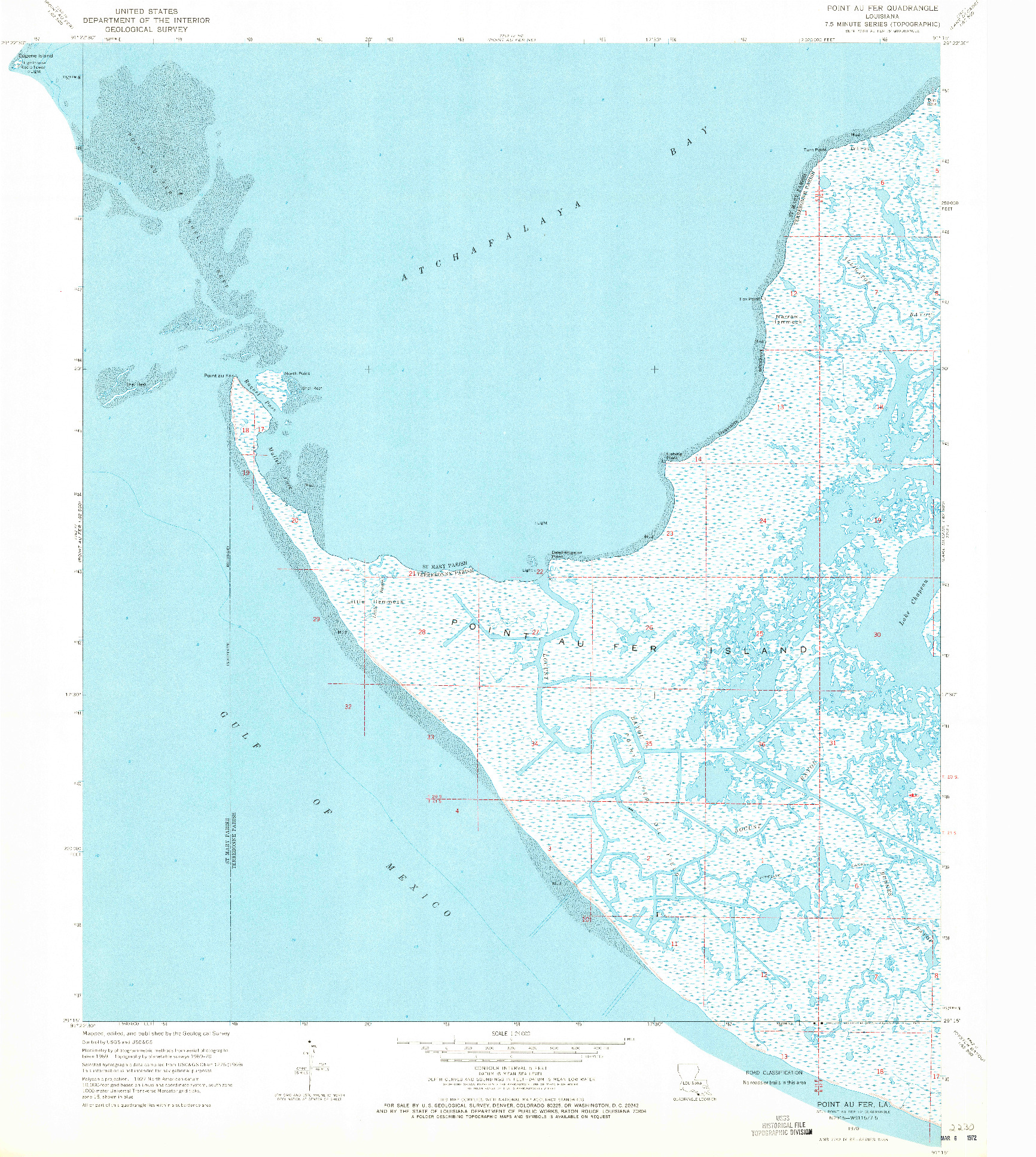 USGS 1:24000-SCALE QUADRANGLE FOR POINT AU FER, LA 1970