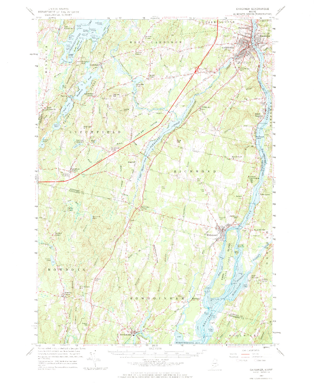 USGS 1:62500-SCALE QUADRANGLE FOR GARDINER, ME 1957