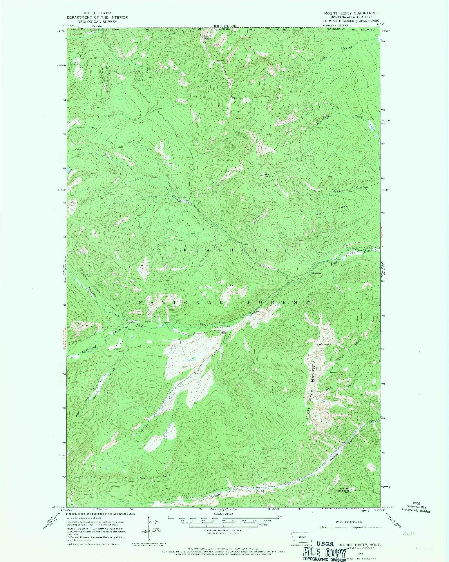 USGS 1:24000-SCALE QUADRANGLE FOR MOUNT HEFTY, MT 1966