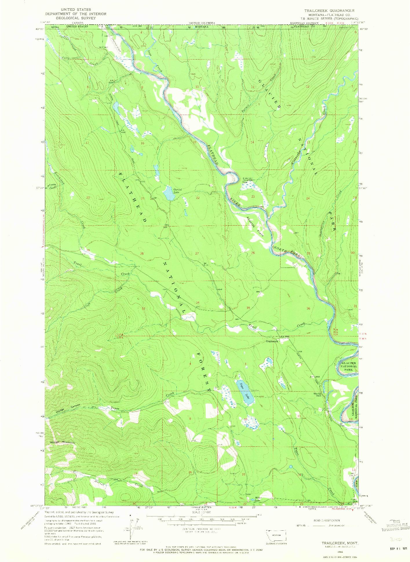 USGS 1:24000-SCALE QUADRANGLE FOR TRAILCREEK, MT 1966