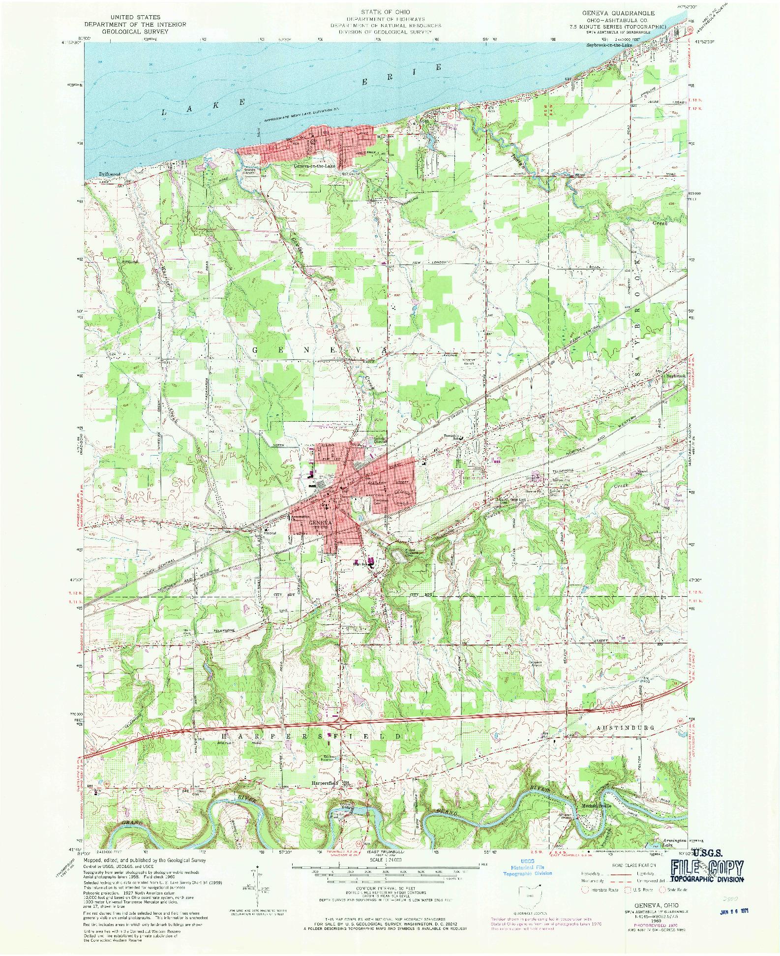 USGS 1:24000-SCALE QUADRANGLE FOR GENEVA, OH 1960