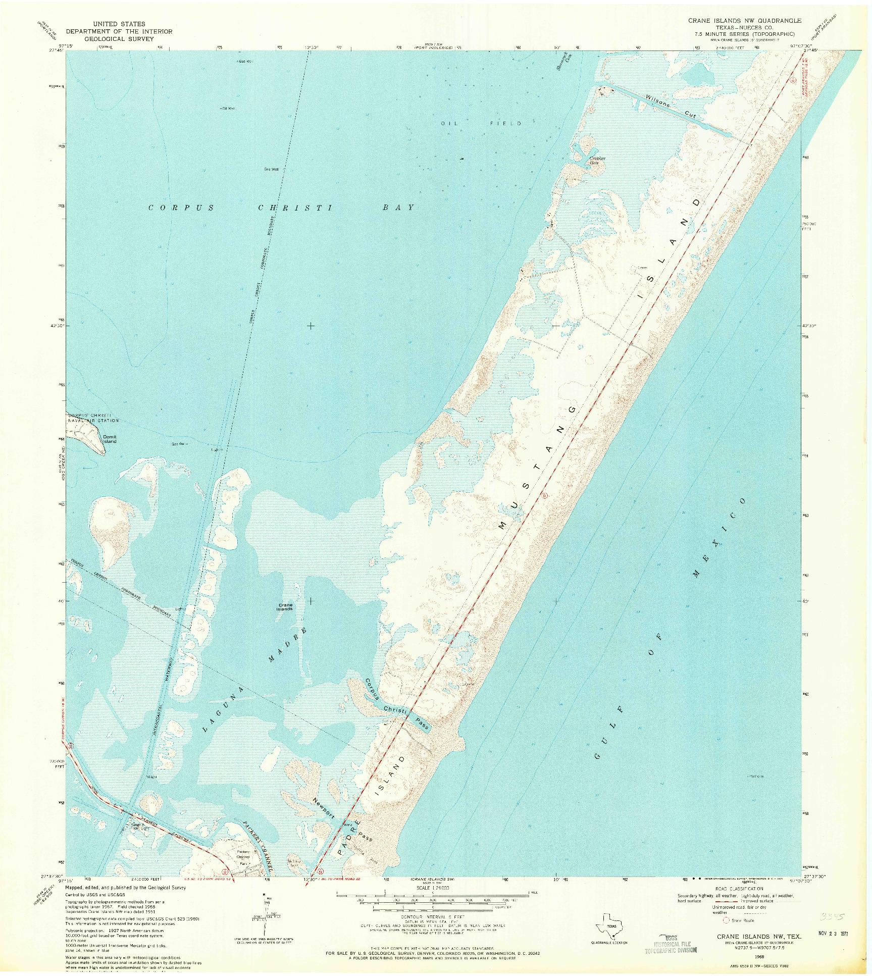 USGS 1:24000-SCALE QUADRANGLE FOR CRANE ISLANDS NW, TX 1968