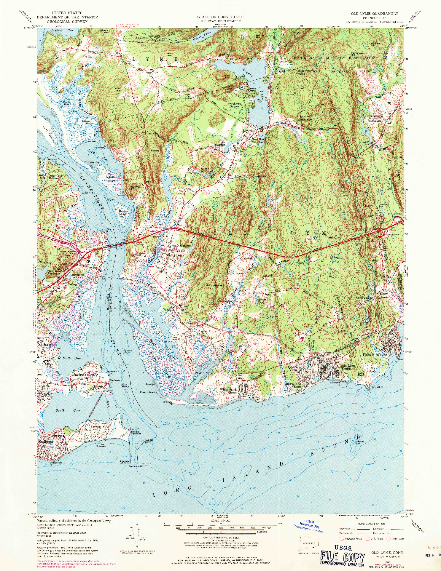USGS 1:24000-SCALE QUADRANGLE FOR OLD LYME, CT 1958