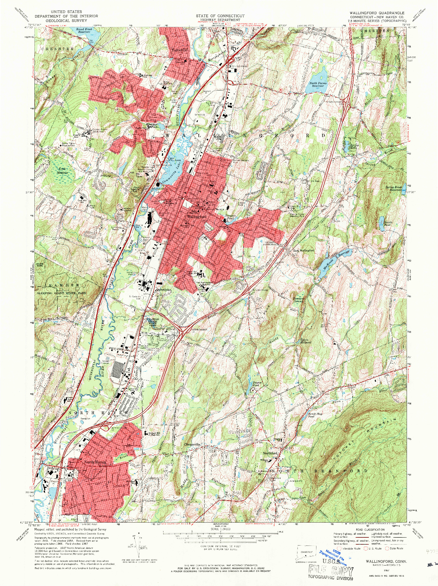 USGS 1:24000-SCALE QUADRANGLE FOR WALLINGFORD, CT 1967