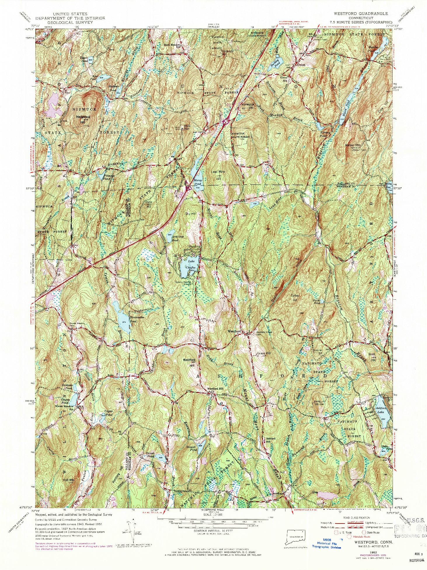 USGS 1:24000-SCALE QUADRANGLE FOR WESTFORD, CT 1952