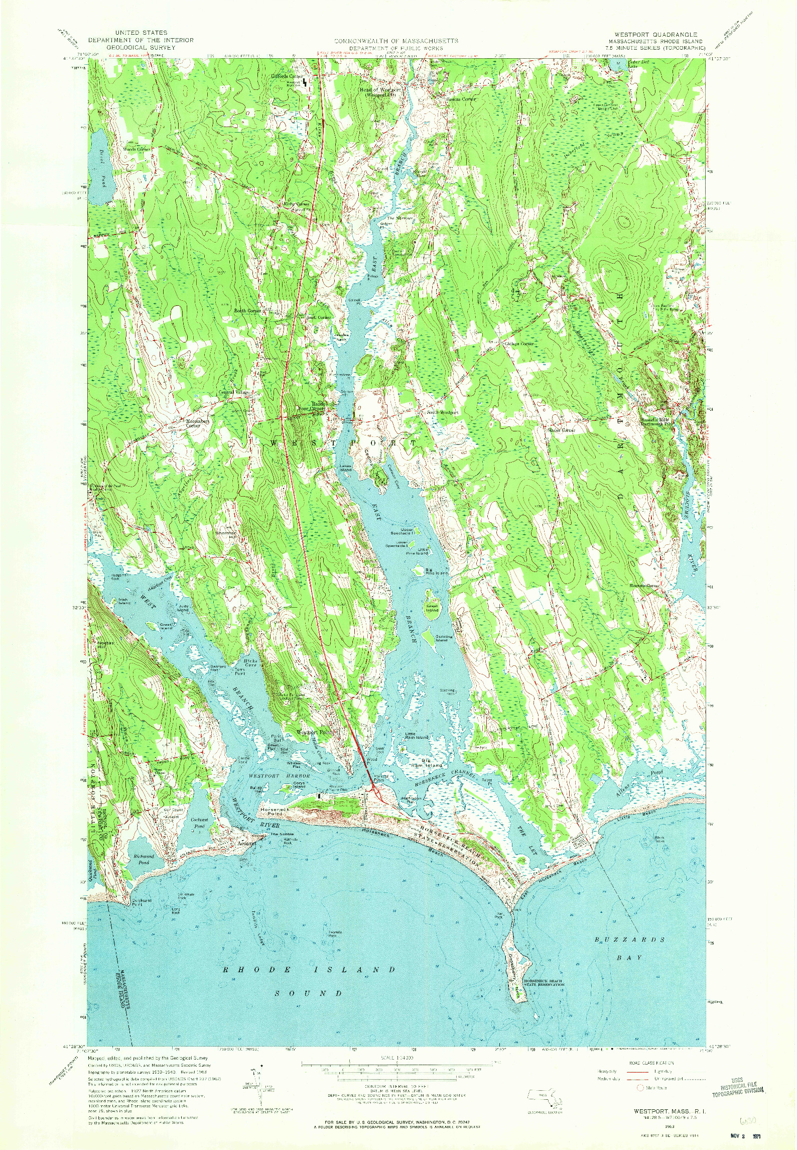 USGS 1:24000-SCALE QUADRANGLE FOR WESTPORT, MA 1963