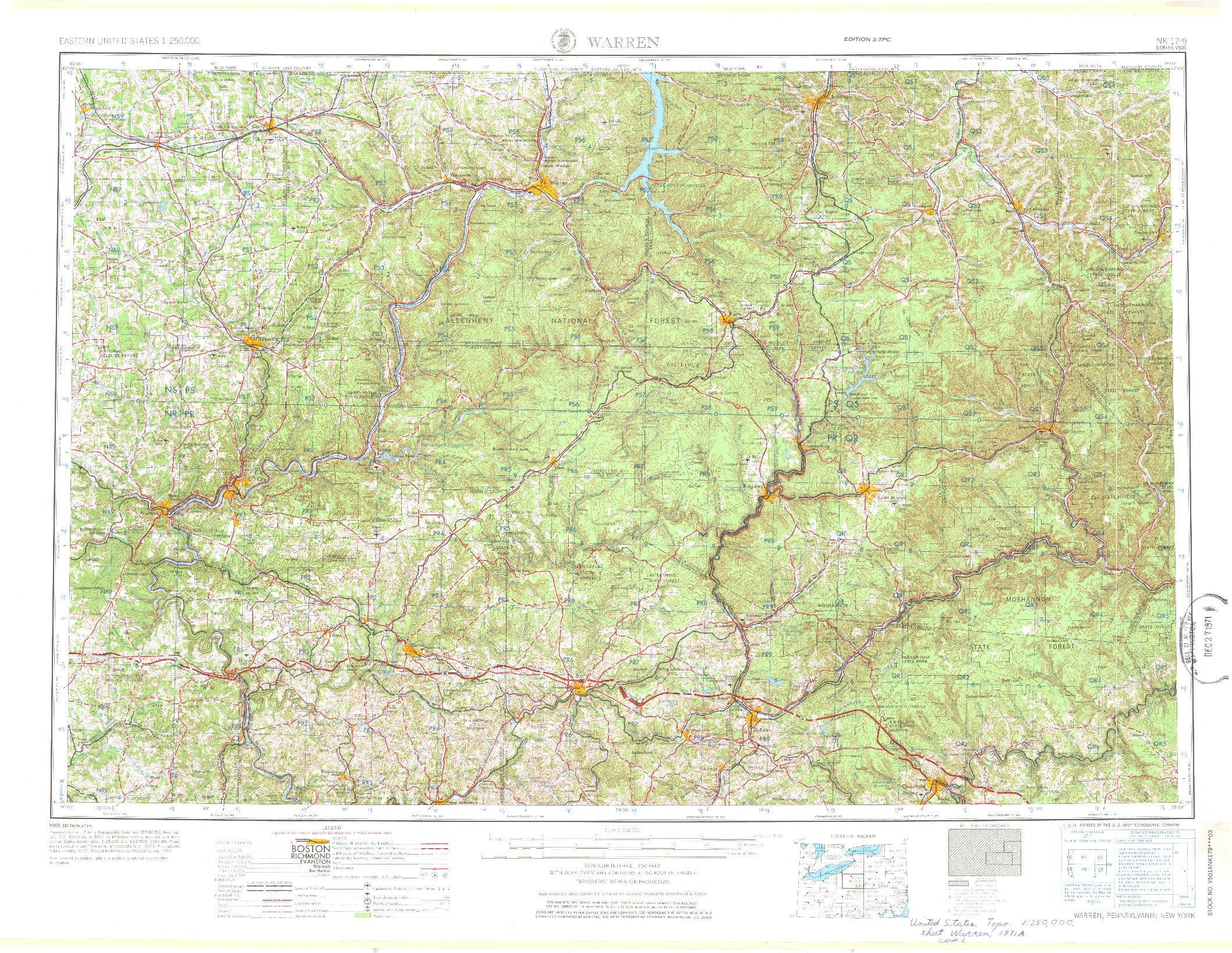 USGS 1:250000-SCALE QUADRANGLE FOR WARREN, PA 1971