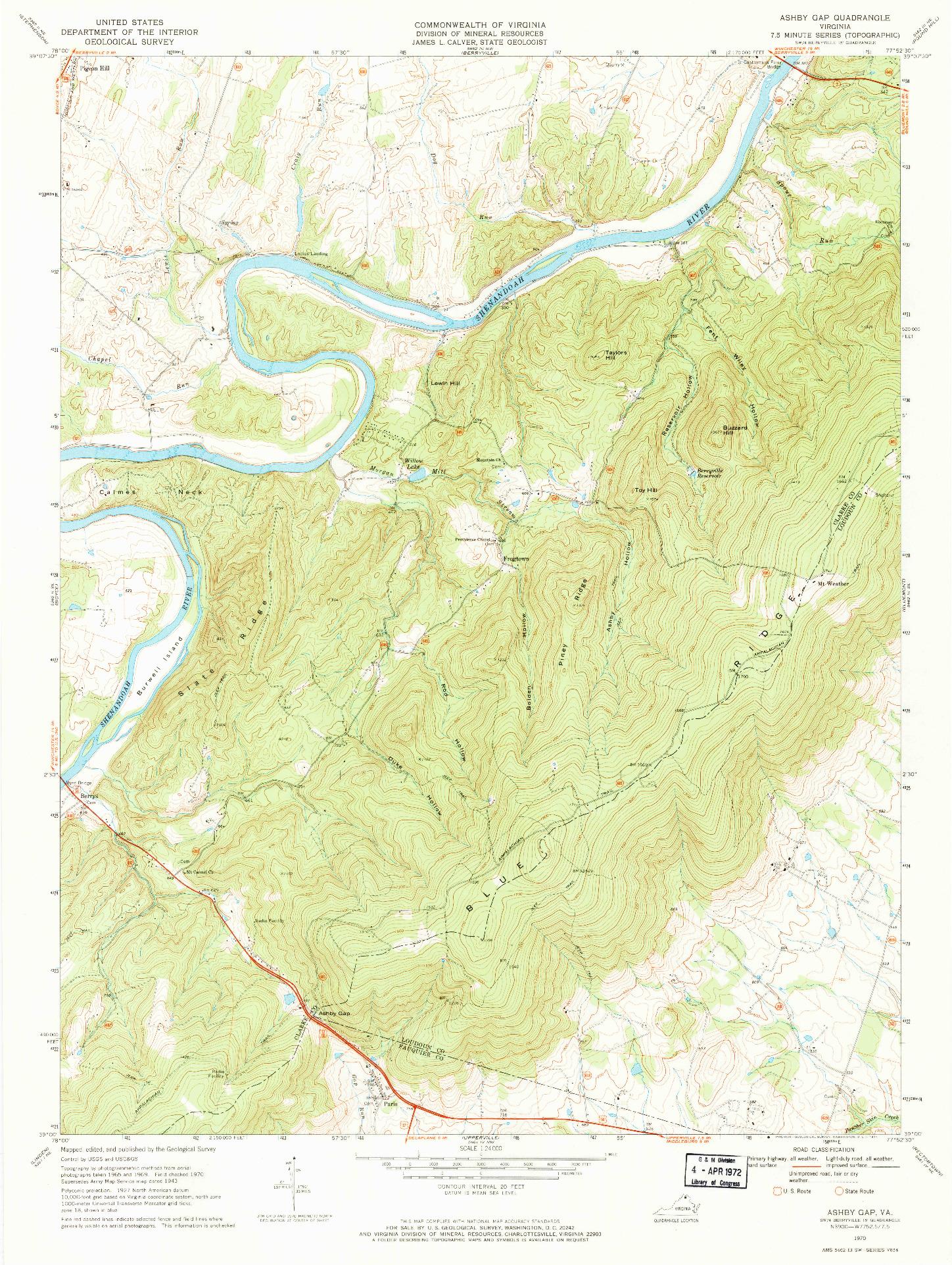 USGS 1:24000-SCALE QUADRANGLE FOR ASHBY GAP, VA 1970