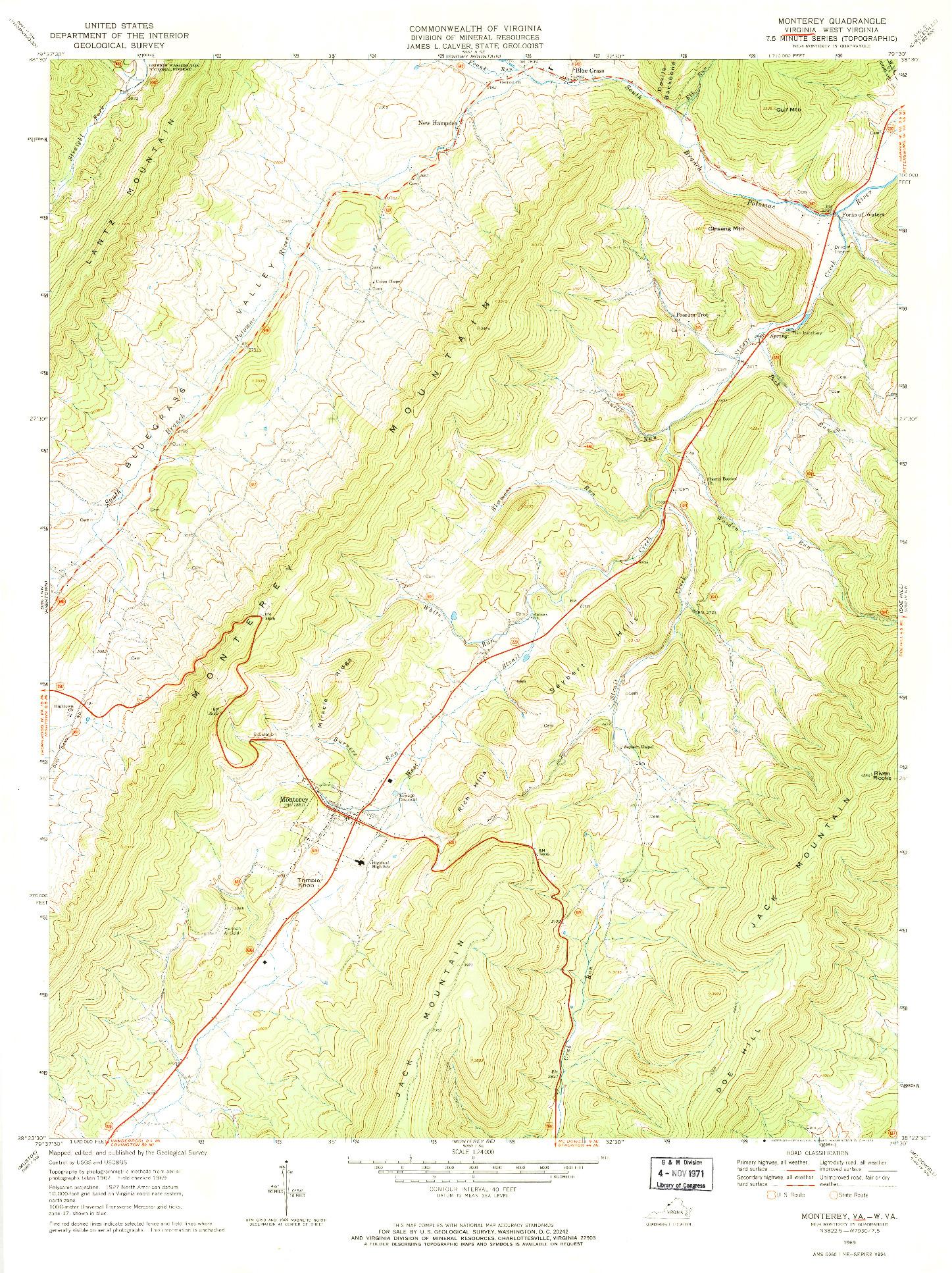 USGS 1:24000-SCALE QUADRANGLE FOR MONTEREY, VA 1969