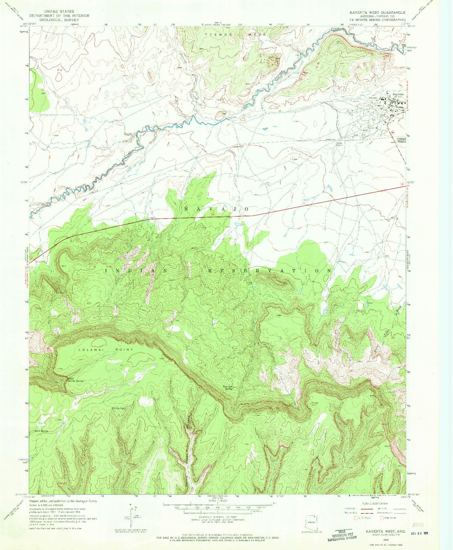 USGS 1:24000-SCALE QUADRANGLE FOR KAYENTA WEST, AZ 1968