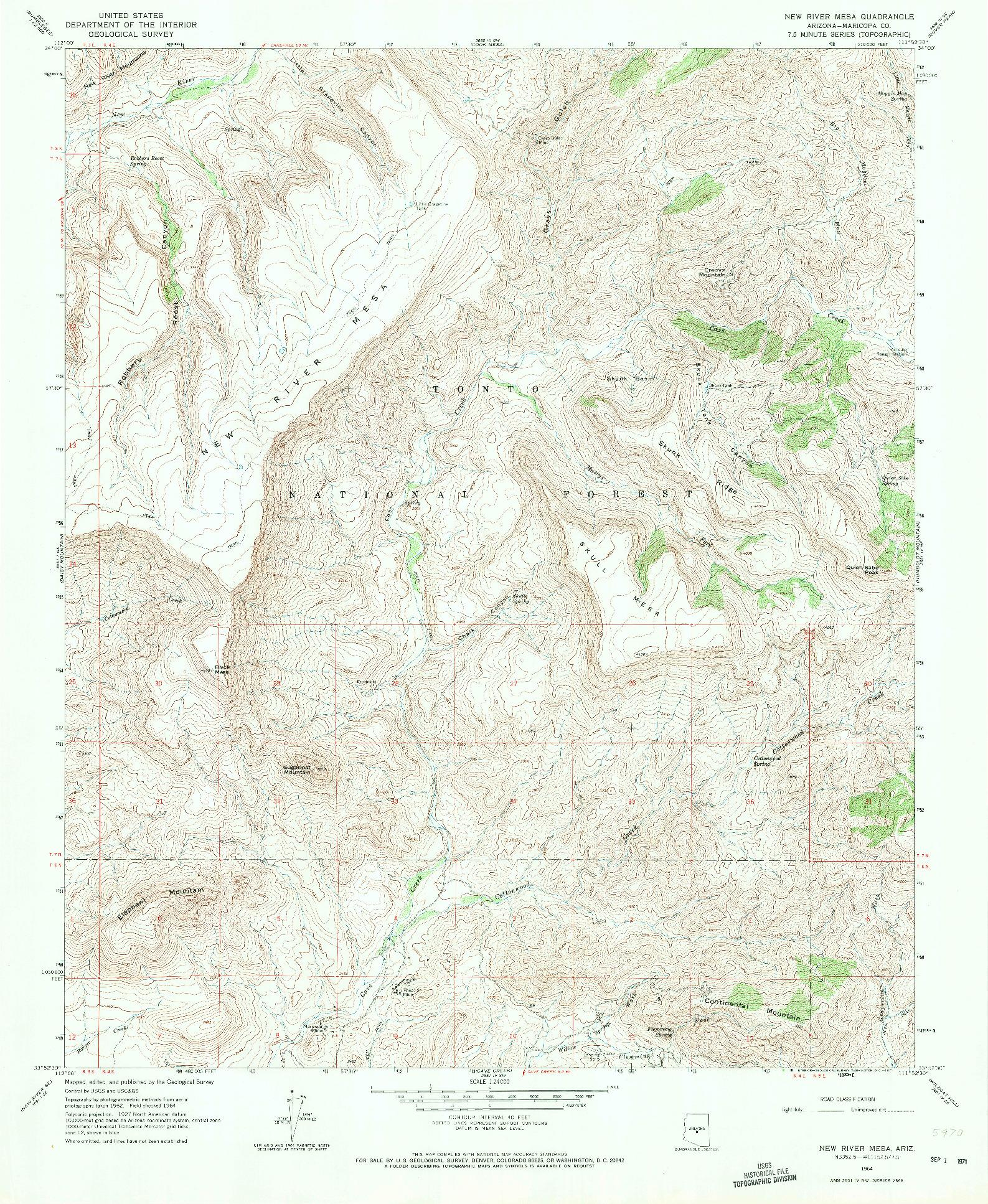 USGS 1:24000-SCALE QUADRANGLE FOR NEW RIVER MESA, AZ 1964