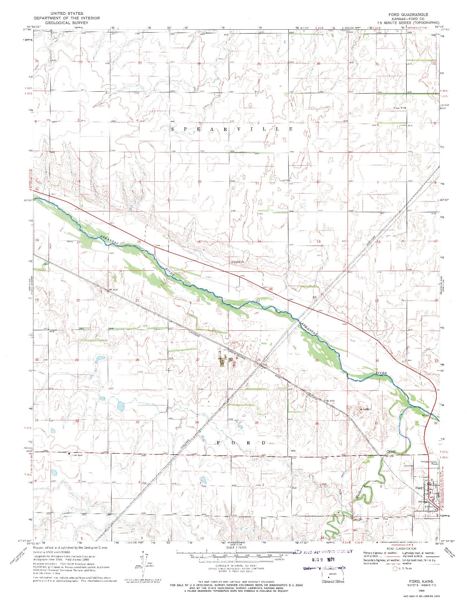 USGS 1:24000-SCALE QUADRANGLE FOR FORD, KS 1969