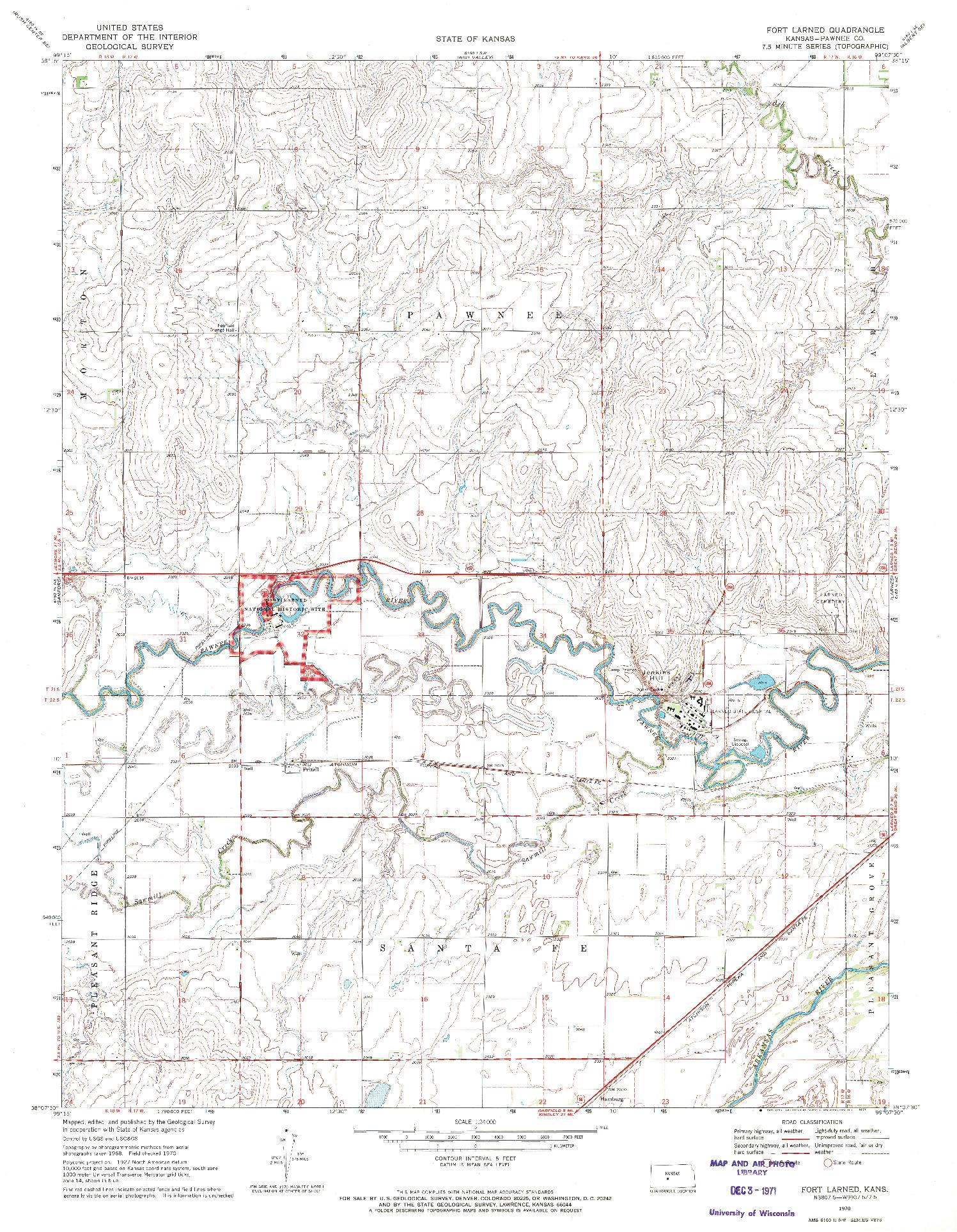 USGS 1:24000-SCALE QUADRANGLE FOR FORT LARNED, KS 1970